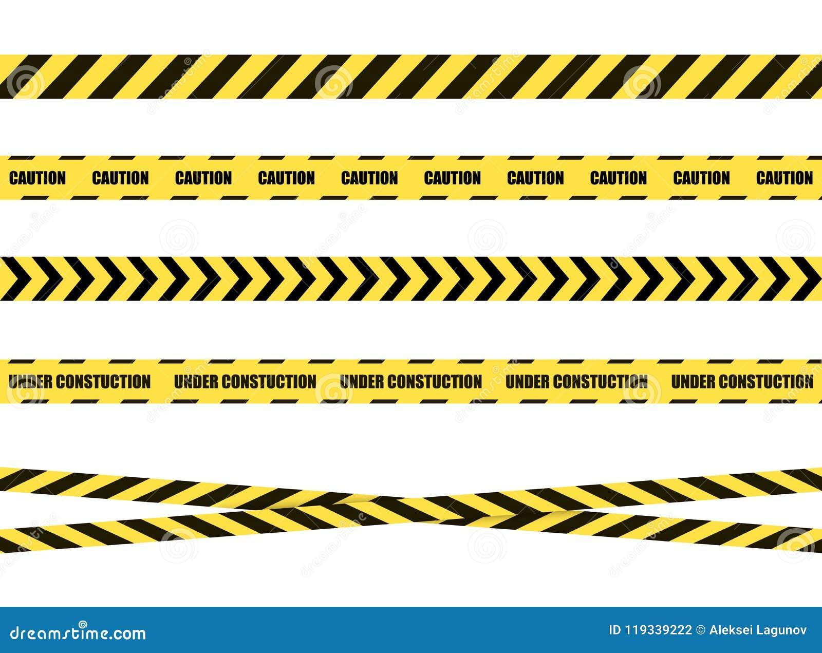 Διανυσματική κορδέλλα σημαδιών κινδύνου, ταινία που απομονώνεται στο άσπρο υπόβαθρο, ο Μαύρος και κίτρινος