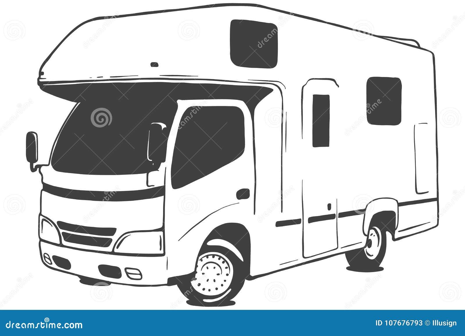 Διανυσματική μαύρη απεικόνιση Campervan που απομονώνεται στο άσπρο υπόβαθρο συρμένος εικονογράφος απεικόνισης χεριών ξυλάνθρακα β