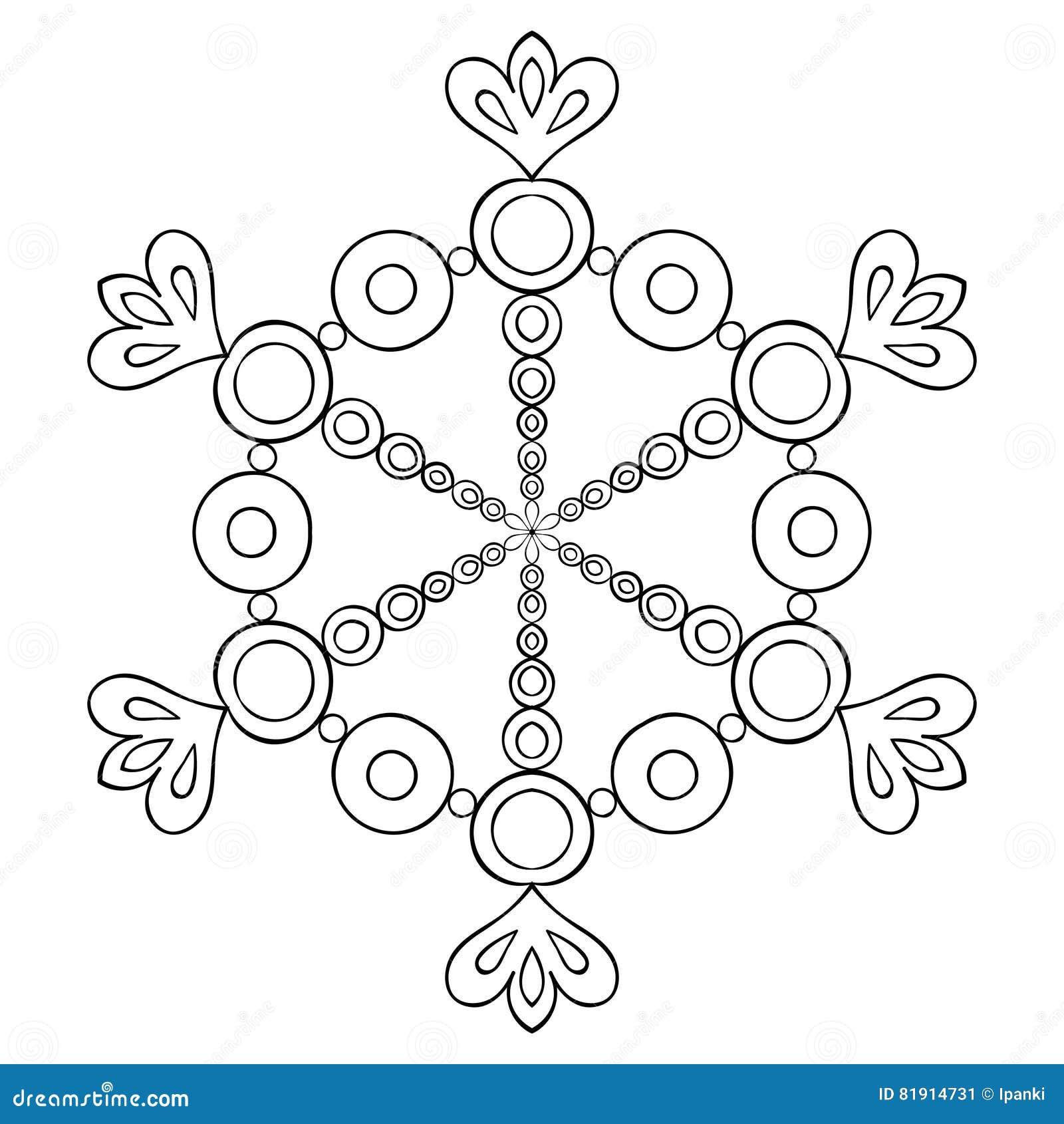 Διανυσματική νιφάδα χιονιού διακοπής εγγράφου στο ύφος zentangle, doodle ο Μαύρος