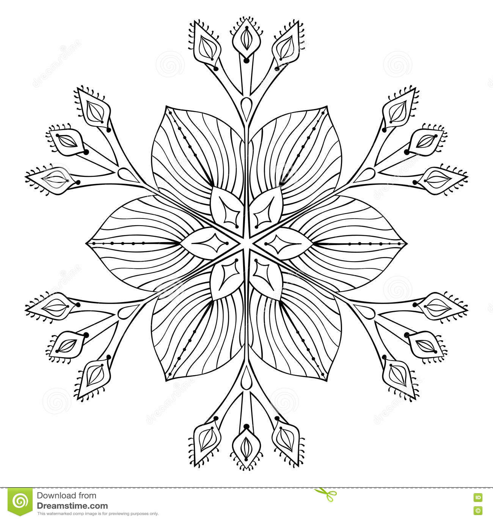 Διανυσματική νιφάδα χιονιού στο ύφος zentangle doodle, μαύρο mandala για το α