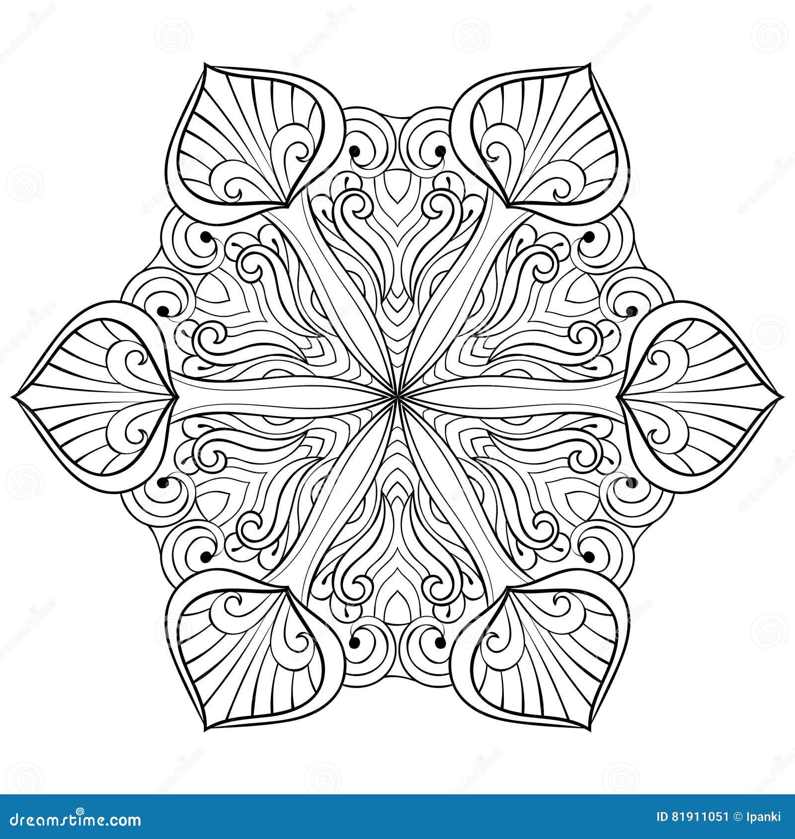 Διανυσματική νιφάδα χιονιού στο ύφος zentangle doodle, mandala για το ενήλικο γ