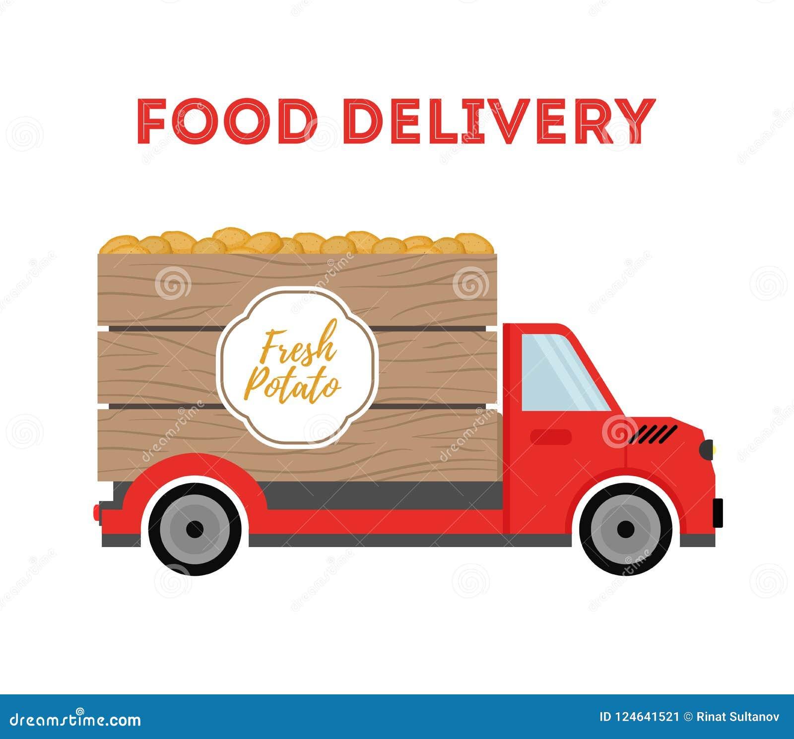 Διανυσματική παράδοση τροφίμων - ναυτιλία των προϊόντων κήπων - πατάτα Αυτοκίνητο, φορτηγό