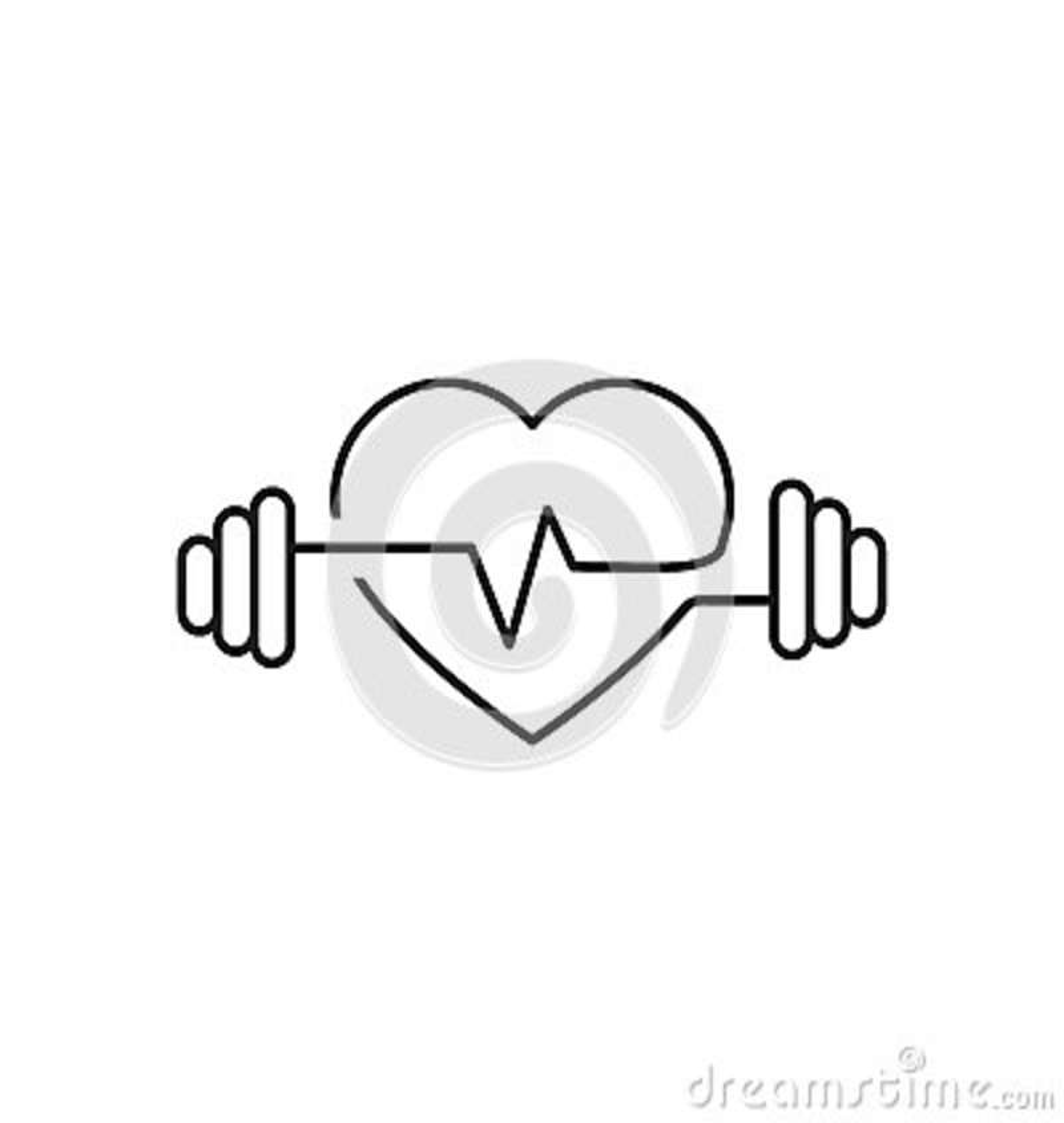 Διανυσματική περίληψη καρδιών, αλτήρες και ένα καρδιογράφημα Εικονίδιο που συμβολίζει τον αθλητισμό υγείας lifestyle Τέχνη γραμμώ