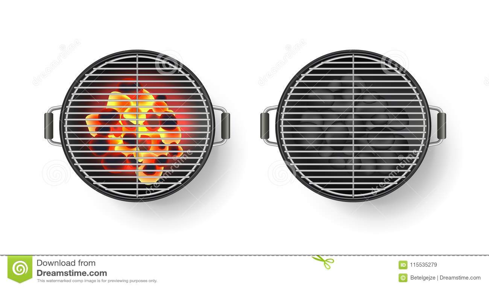 Διανυσματική ρεαλιστική τρισδιάστατη απεικόνιση της στρογγυλής κενής σχάρας σχαρών με τον καυτό άνθρακα, που απομονώνεται στο άσπ