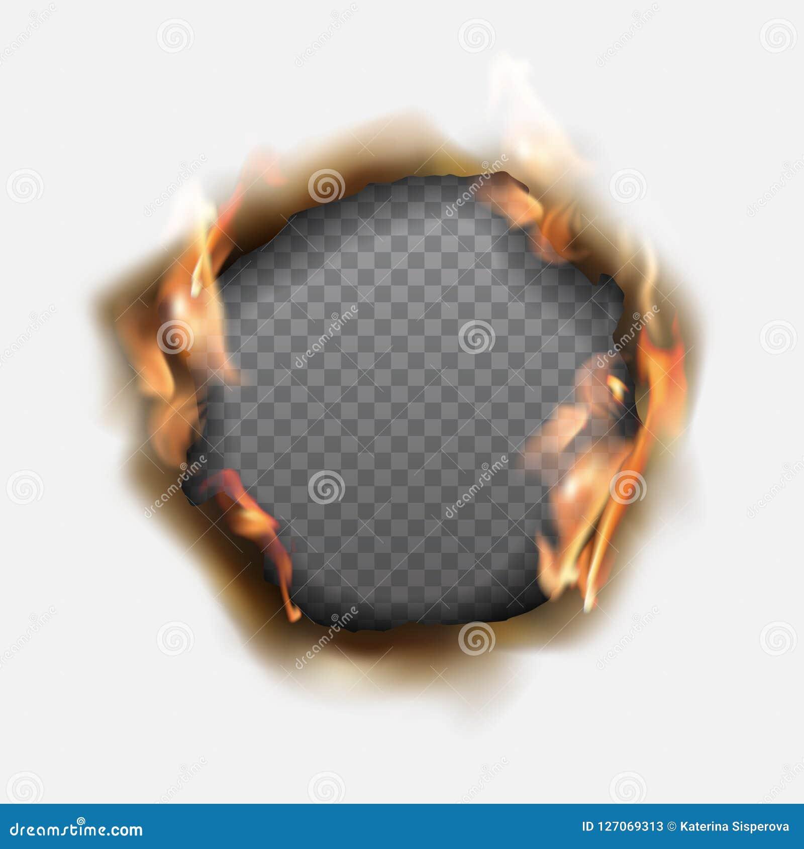 Διανυσματική ρεαλιστική τρύπα που καίγεται στο έγγραφο με τις καφετιές άκρες και τις φλόγες
