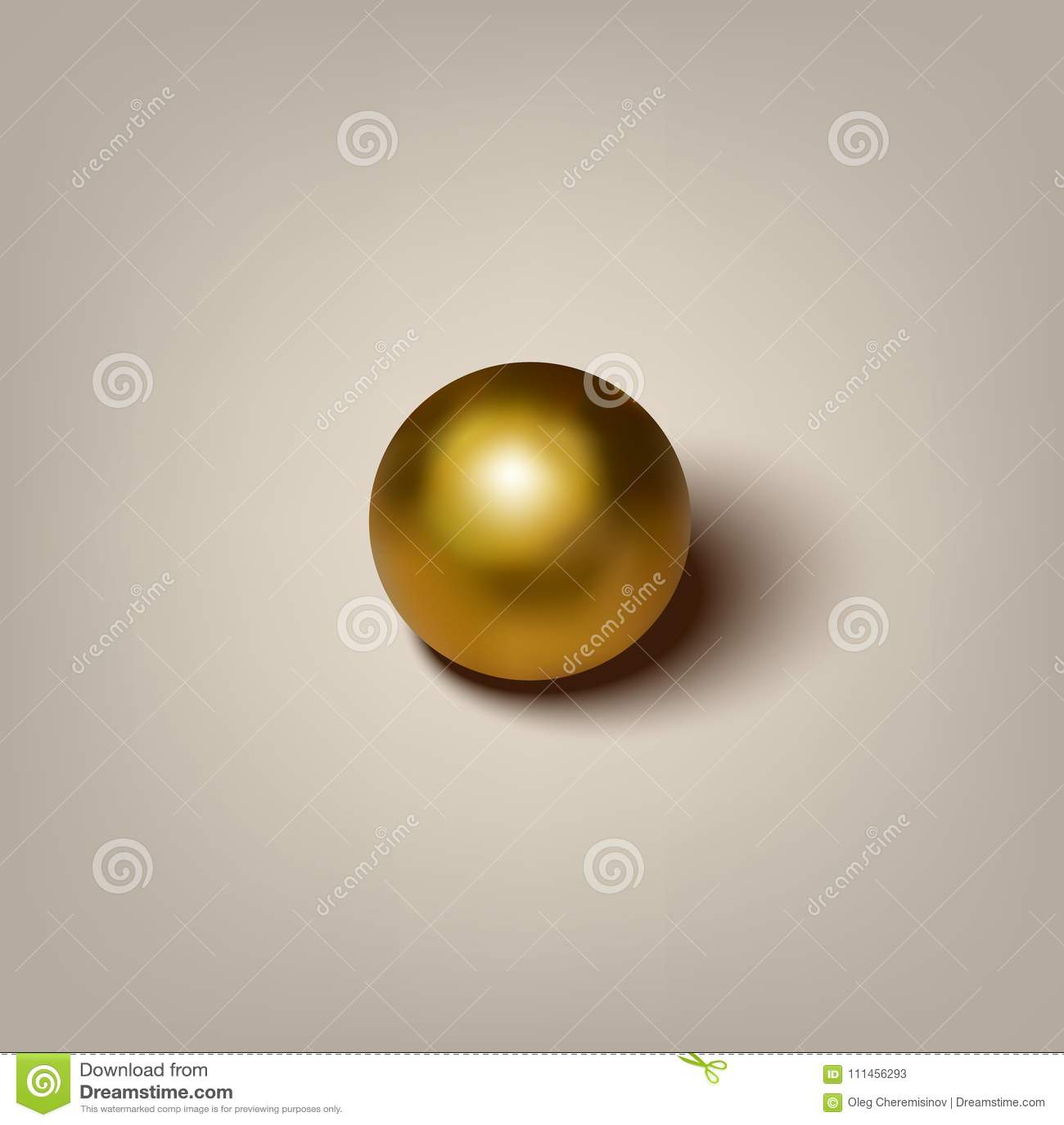 Διανυσματική ρεαλιστική χρυσή σφαίρα με τη σκιά στο γκρίζο υπόβαθρο