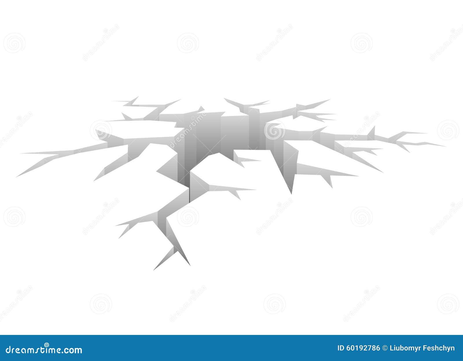 Διανυσματική ρωγμή Σχεδιασμένη τρύπα Άσπρο υπόβαθρο έννοιας συντριβής