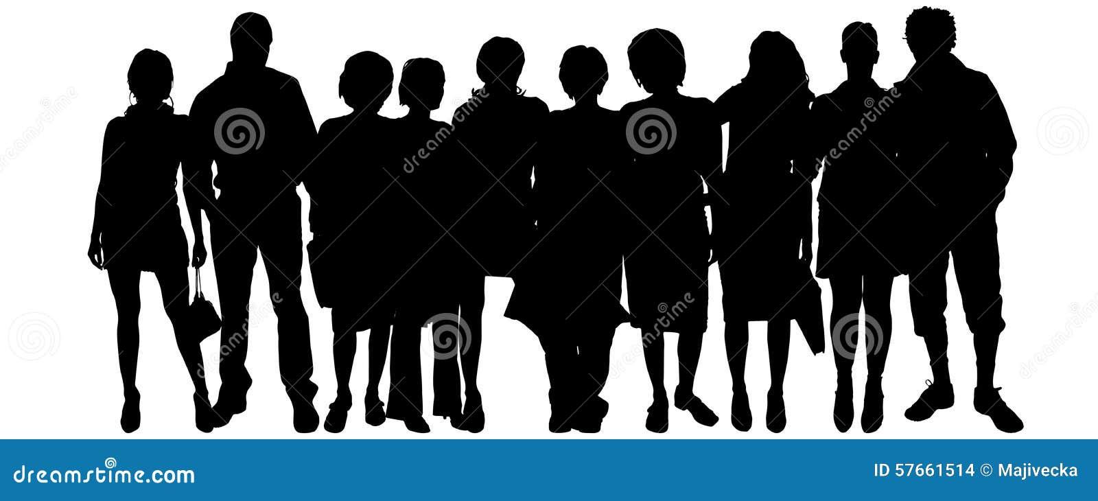 Διανυσματική σκιαγραφία μιας ομάδας ανθρώπων