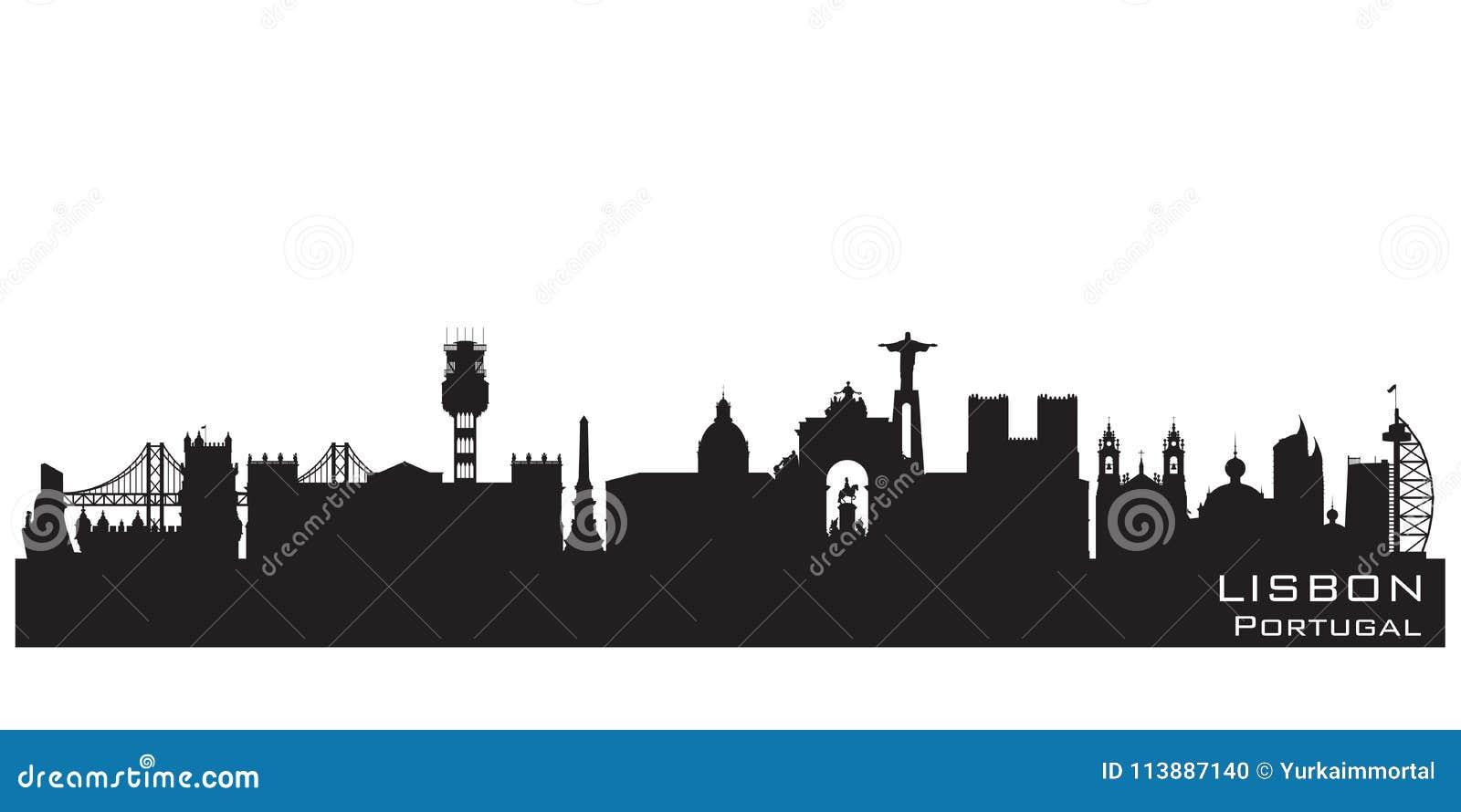 Διανυσματική σκιαγραφία οριζόντων πόλεων της Λισσαβώνας Πορτογαλία