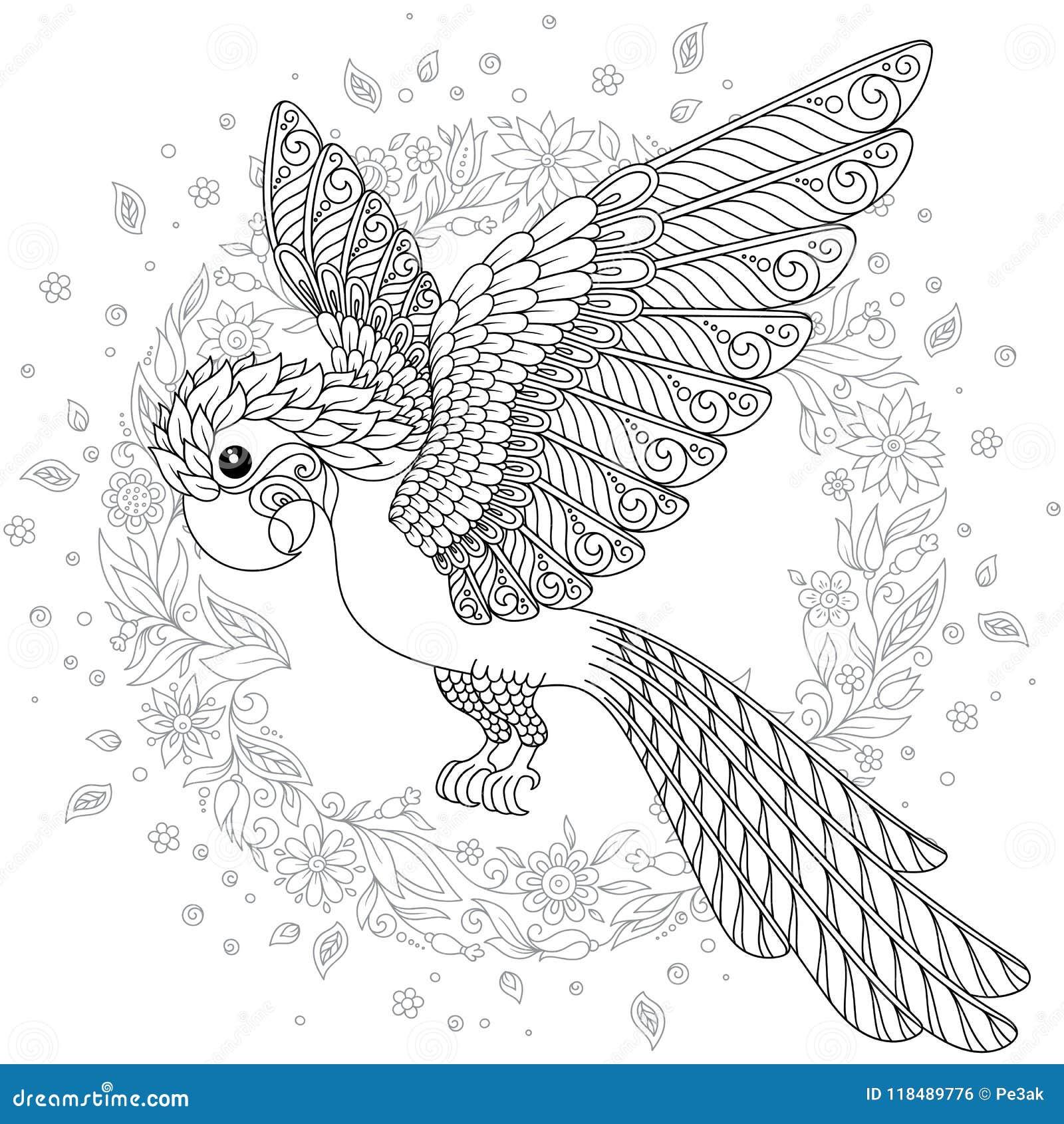 Διανυσματική σκιαγραφία παπαγάλων ζουγκλών cockatoo φαντασίας τυποποιημένη