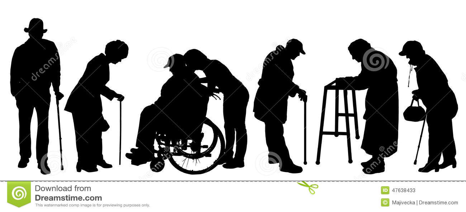 Διανυσματική σκιαγραφία του ηλικιωμένου ανθρώπου