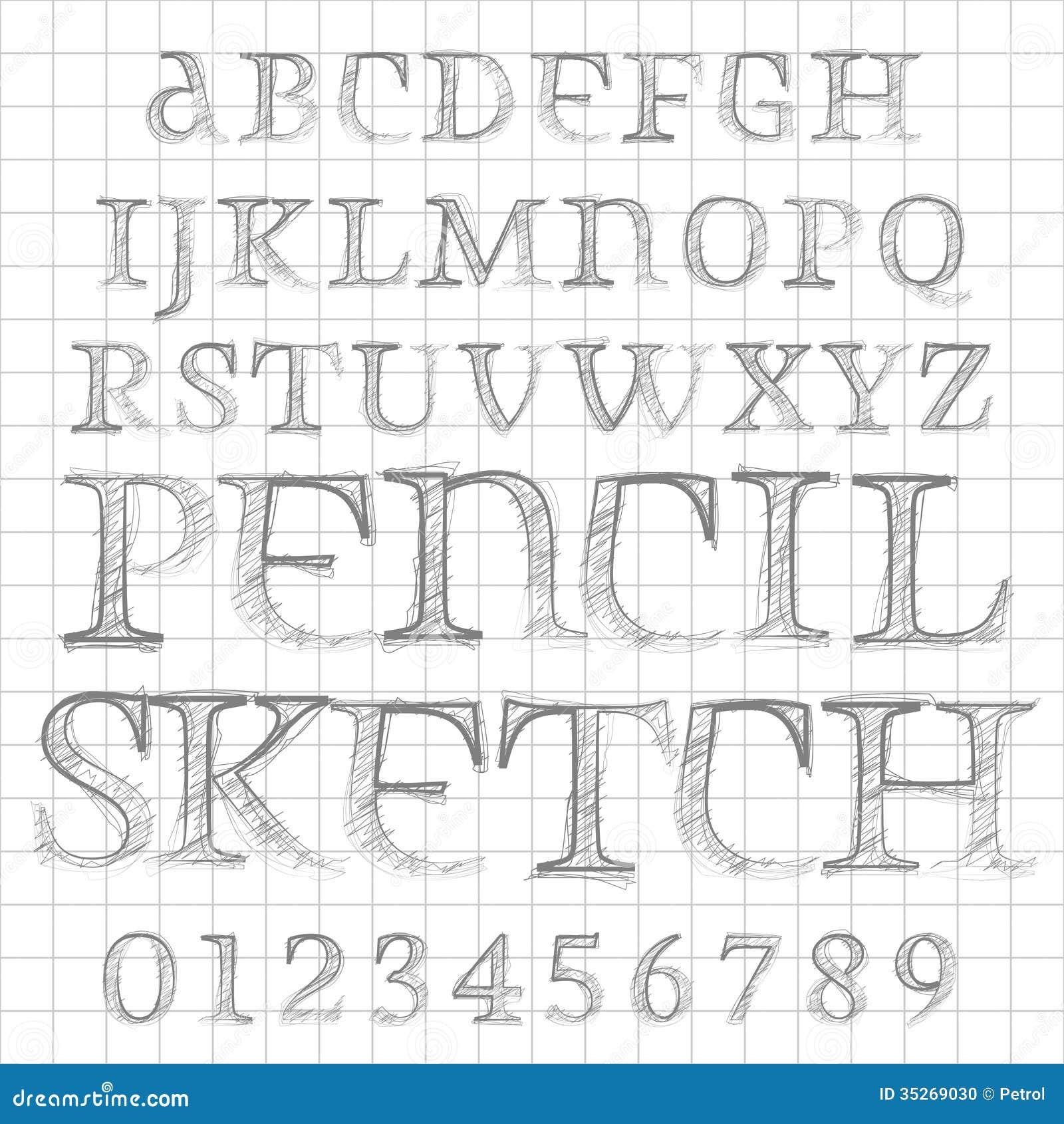 Διανυσματική σκιαγραφημένη μολύβι πηγή