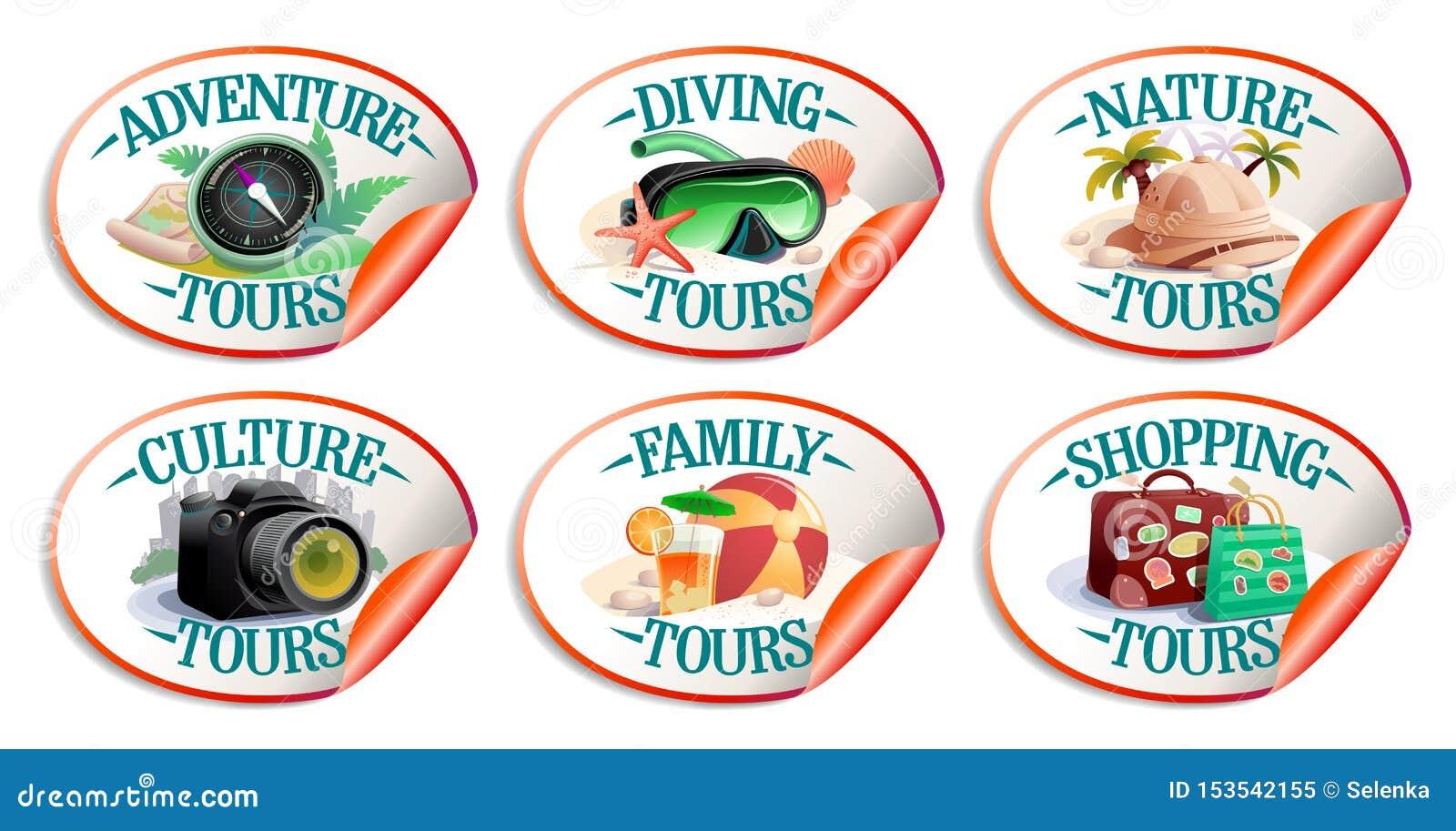 Διανυσματική συλλογή αυτοκόλλητων ετικεττών ταξιδιού - φύση turs, γύροι αγορών, γύροι περιπέτειας, κ.λπ.