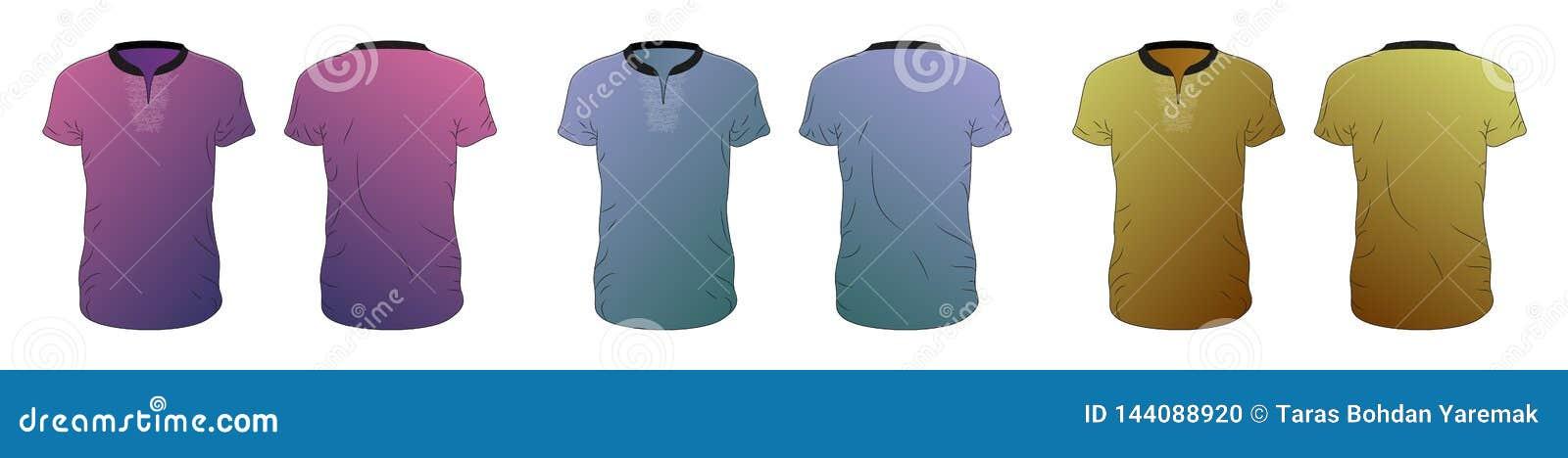 Διανυσματική συλλογή προτύπων μπλουζών των διαφορετικών χρωμάτων, διανυσματική απεικόνιση eps10