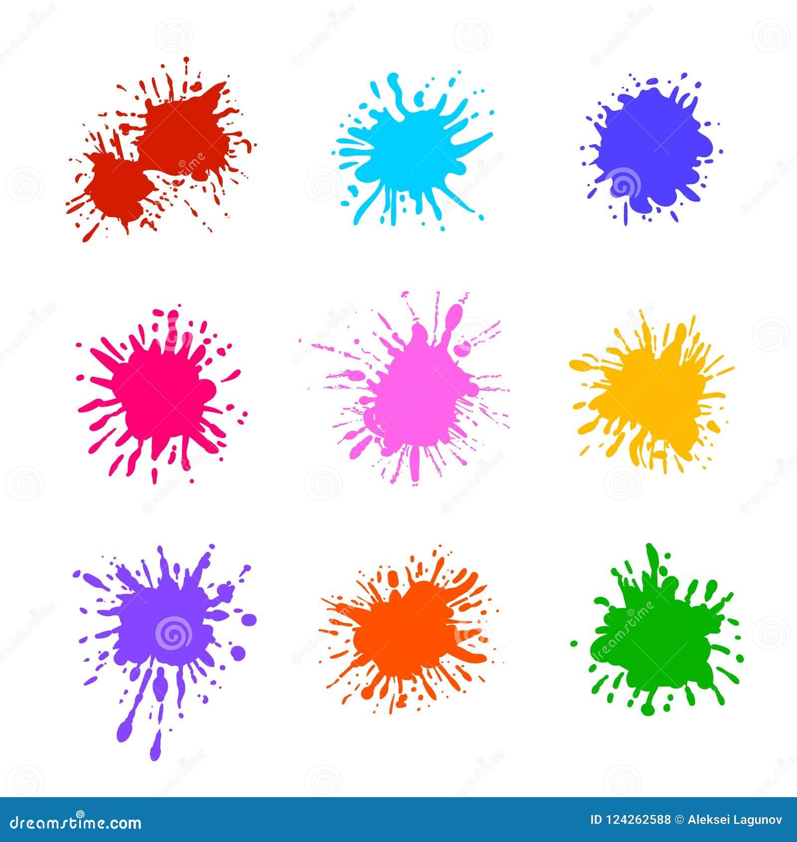 Διανυσματική συλλογή του ζωηρόχρωμου χρώματος Splatters που απομονώνονται, κενά πρότυπα βουρτσών