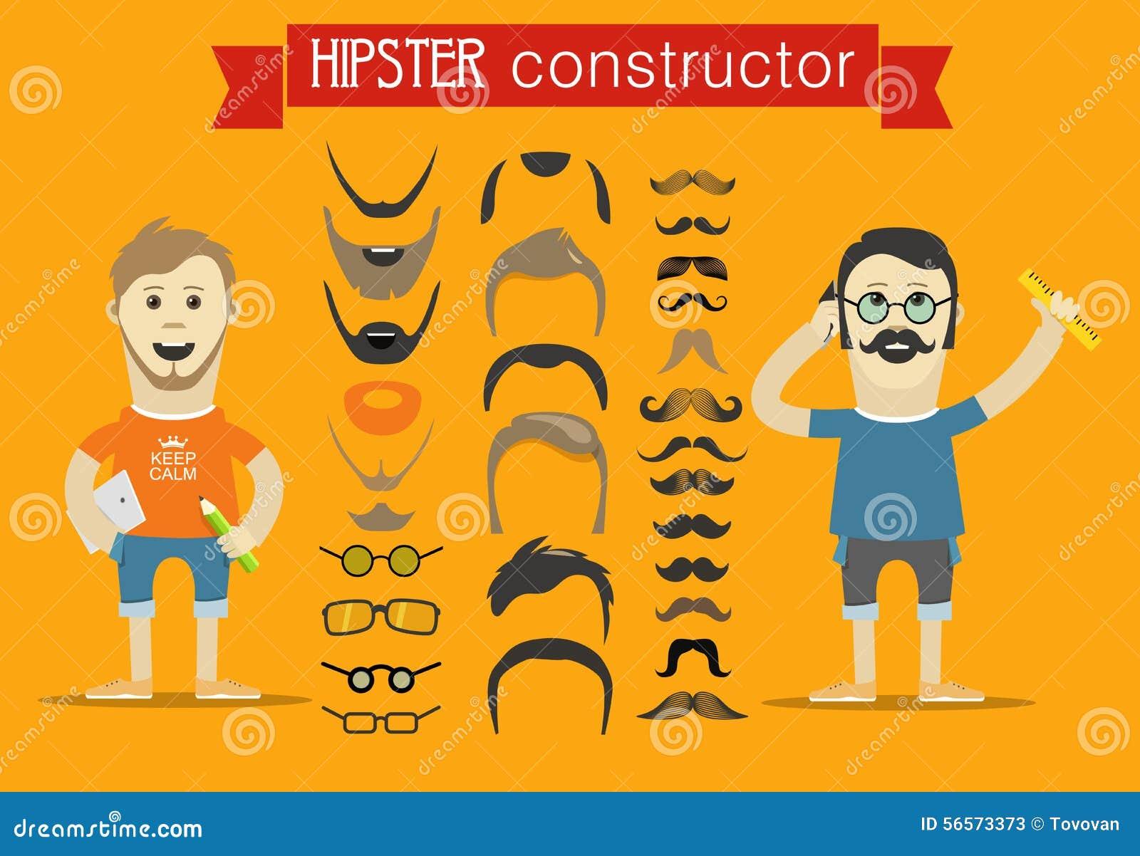 Download Διανυσματική συνδετήρας-τέχνη εξαρτημάτων Hipster Διανυσματική απεικόνιση - εικονογραφία από hipster, moustache: 56573373