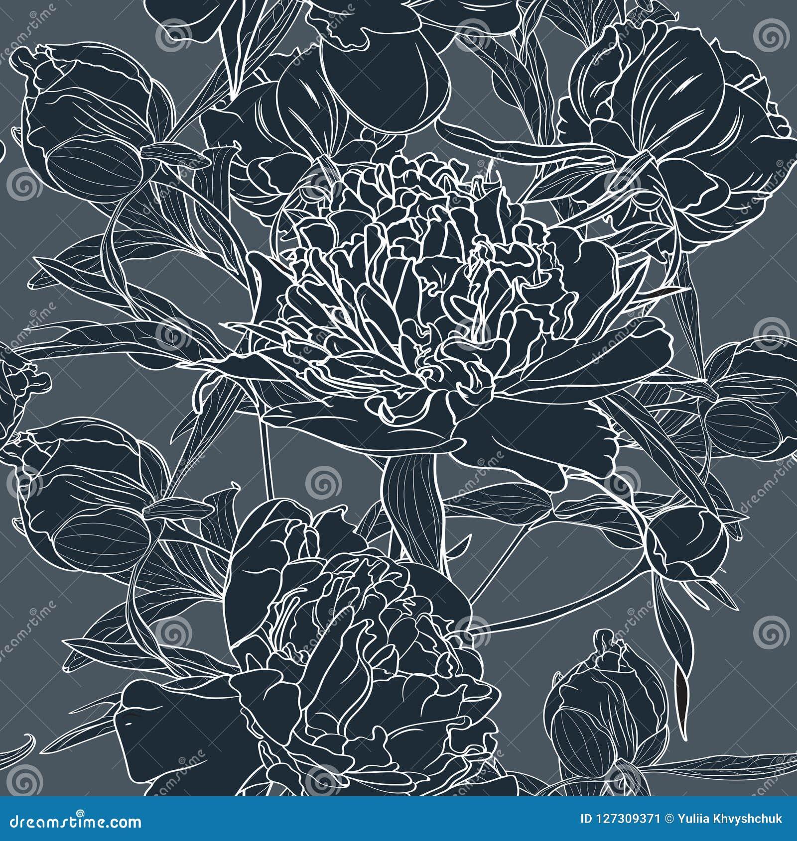 Διανυσματική συρμένη χέρι απεικόνιση σκίτσων του σκούρο μπλε peony άνευ ραφής σχεδίου λουλουδιών