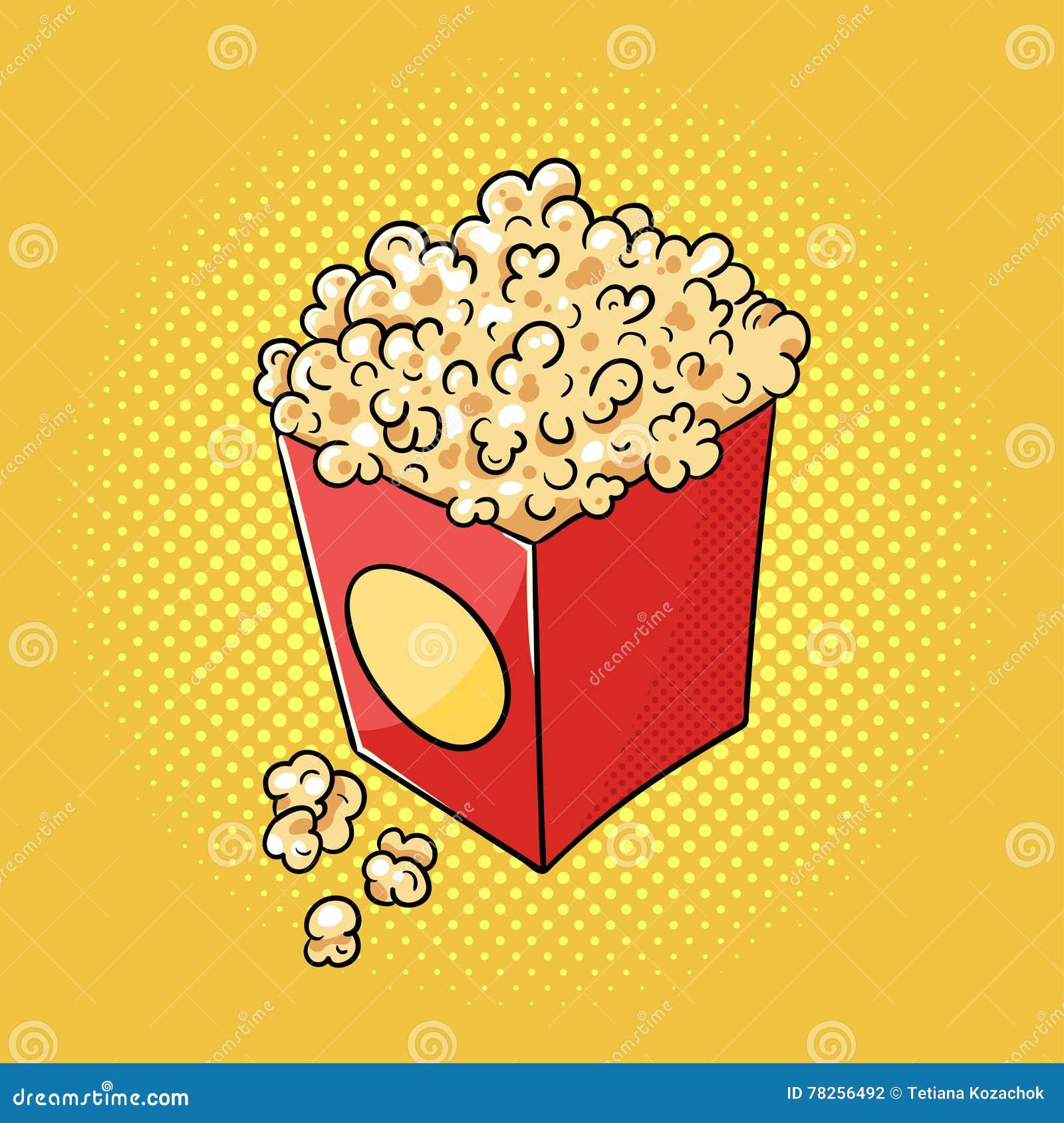Διανυσματική συρμένη χέρι λαϊκή απεικόνιση τέχνης popcorn