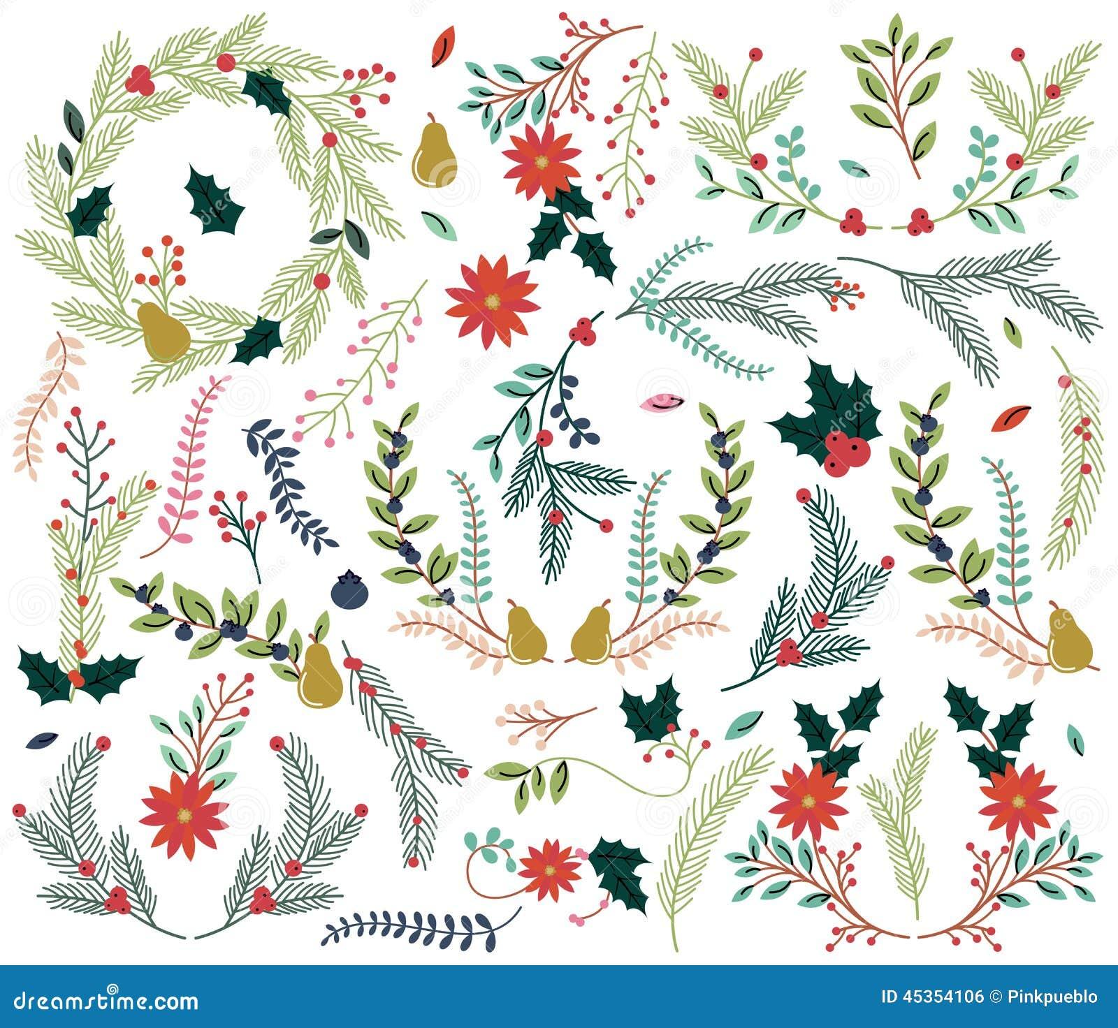 Διανυσματική συλλογή των εκλεκτής ποιότητας διακοπών Χριστουγέννων ύφους συρμένων χέρι floral