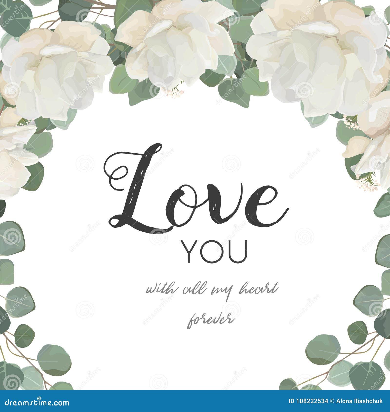 Διανυσματική floral κάρτα σχεδίου Άσπρος αυξήθηκε peony λουλούδι Eucaly σκονών