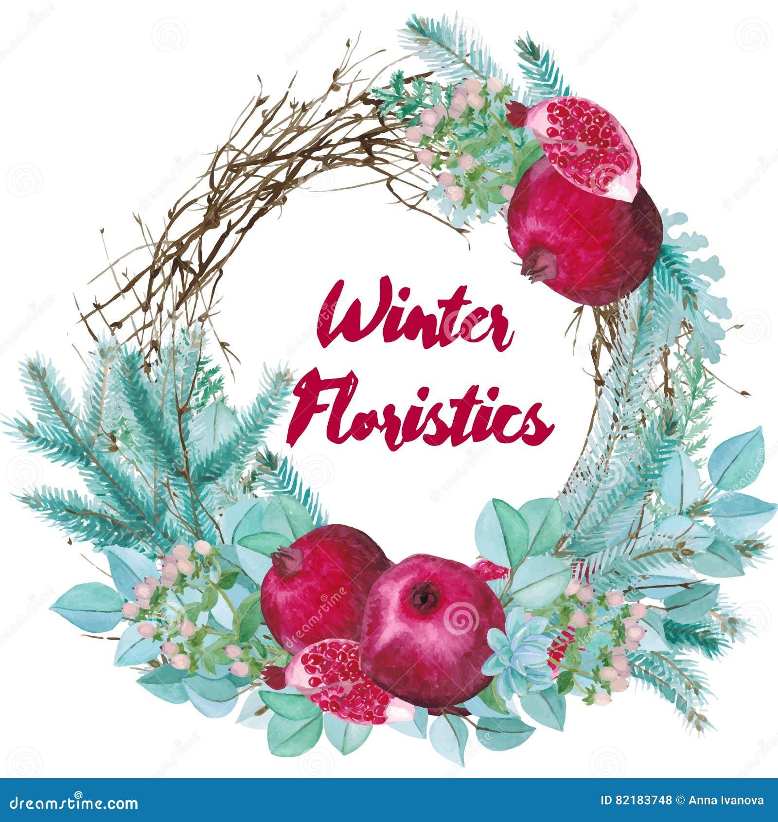 Διανυσματική Floristic σύνθεση Watercolor