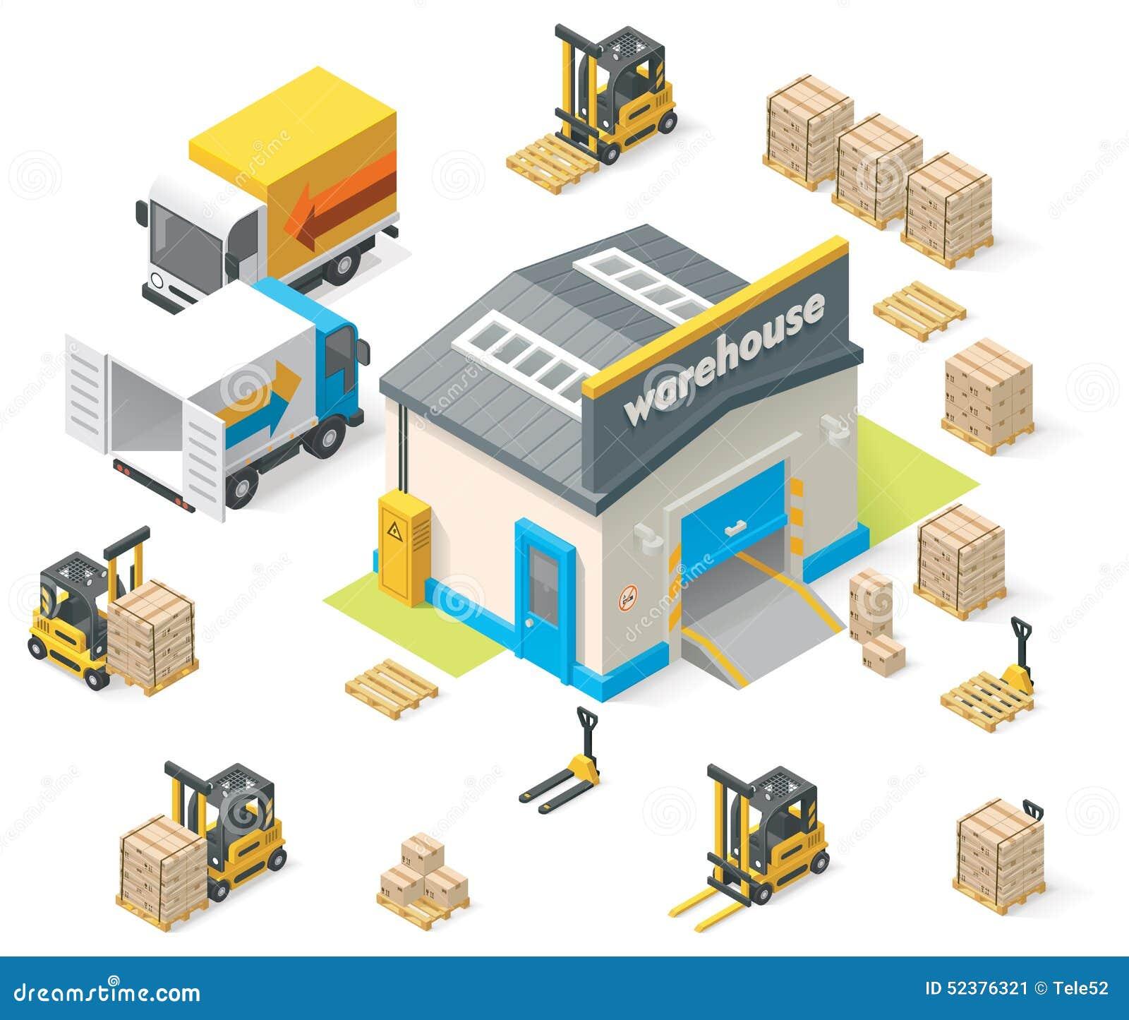 Διανυσματική isometric αποθήκη εμπορευμάτων