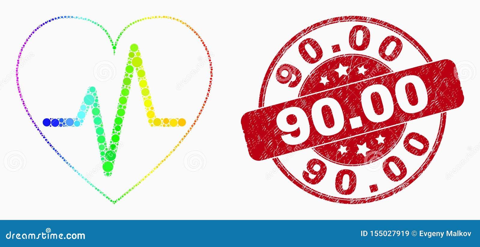 Διανυσματικοί φασματικοί εικονίδιο και κίνδυνος 90 σφυγμού καρδιών Pixelated Σφραγίδα 00
