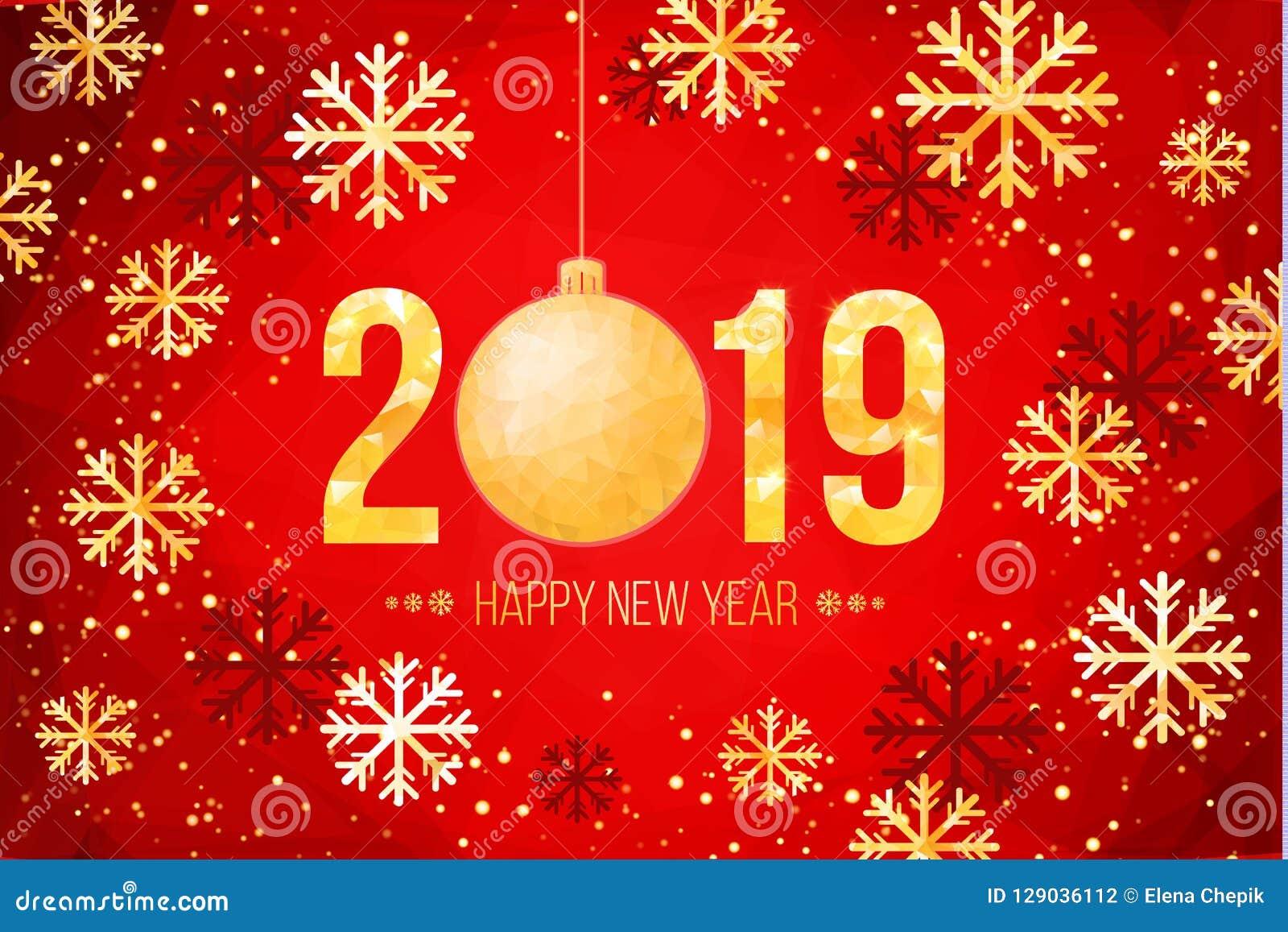 Διανυσματικοί 2019 χρυσοί αριθμοί με το υπόβαθρο και snowflakes κομφετί Πρότυπο για τα εποχιακές ιπτάμενα και την κάρτα χαιρετισμ