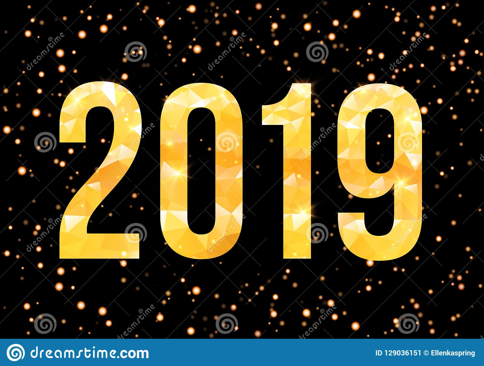 Διανυσματικοί 2019 χρυσοί αριθμοί με το υπόβαθρο κομφετί Πρότυπο για τα εποχιακές ιπτάμενα και την κάρτα χαιρετισμών σας διάνυσμα