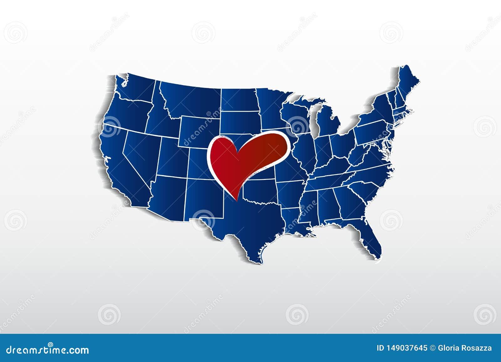 Διανυσματικός ΑΜΕΡΙΚΑΝΙΚΟΣ χάρτης και εικόνα εικονιδίων λογότυπων καρδιών αγάπης