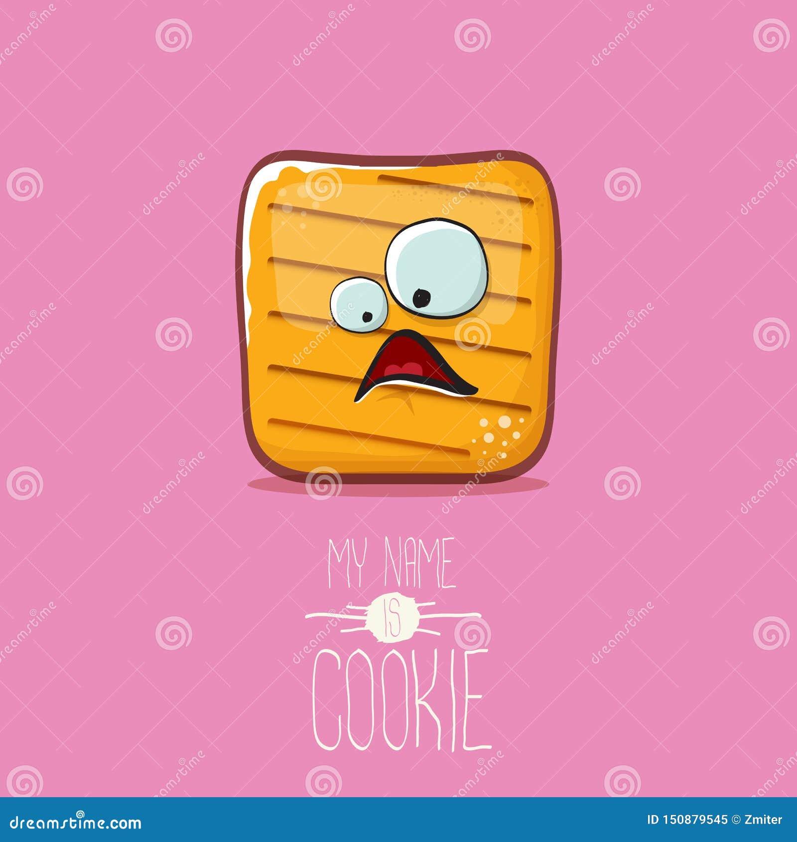 Διανυσματικός αστείος χαρακτήρας μπισκότων που απομονώνεται στο ρόδινο υπόβαθρο Το όνομά μου είναι απεικόνιση έννοιας μπισκότων φ