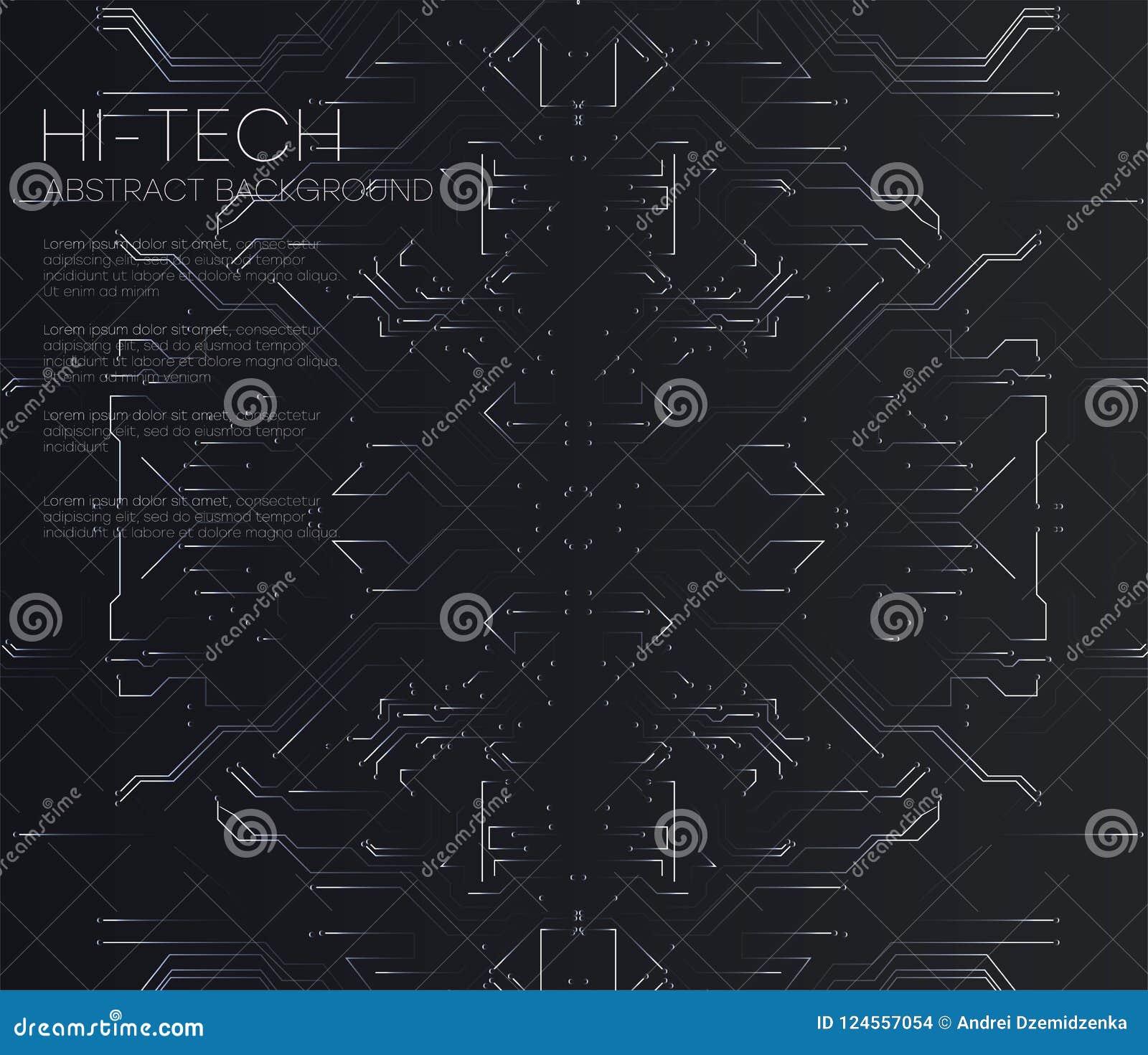 Διανυσματικός αφηρημένος φουτουριστικός πίνακας κυκλωμάτων, απεικόνισης υψηλό υπολογιστών υπόβαθρο χρώματος τεχνολογίας σκοτεινό