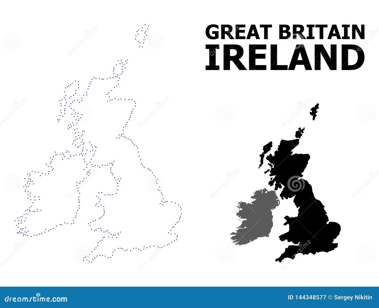 Διανυσματικός διαστιγμένος περίγραμμα χάρτης της Μεγάλης Βρετανίας και της Ιρλανδίας με τον τίτλο