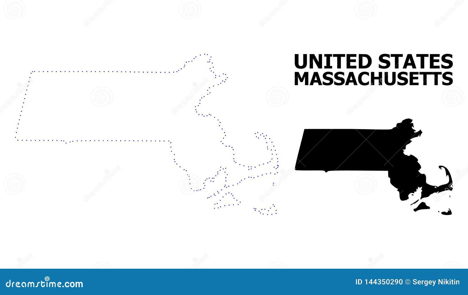 Διανυσματικός διαστιγμένος περίγραμμα χάρτης του κράτους της Μασαχουσέτης με το όνομα