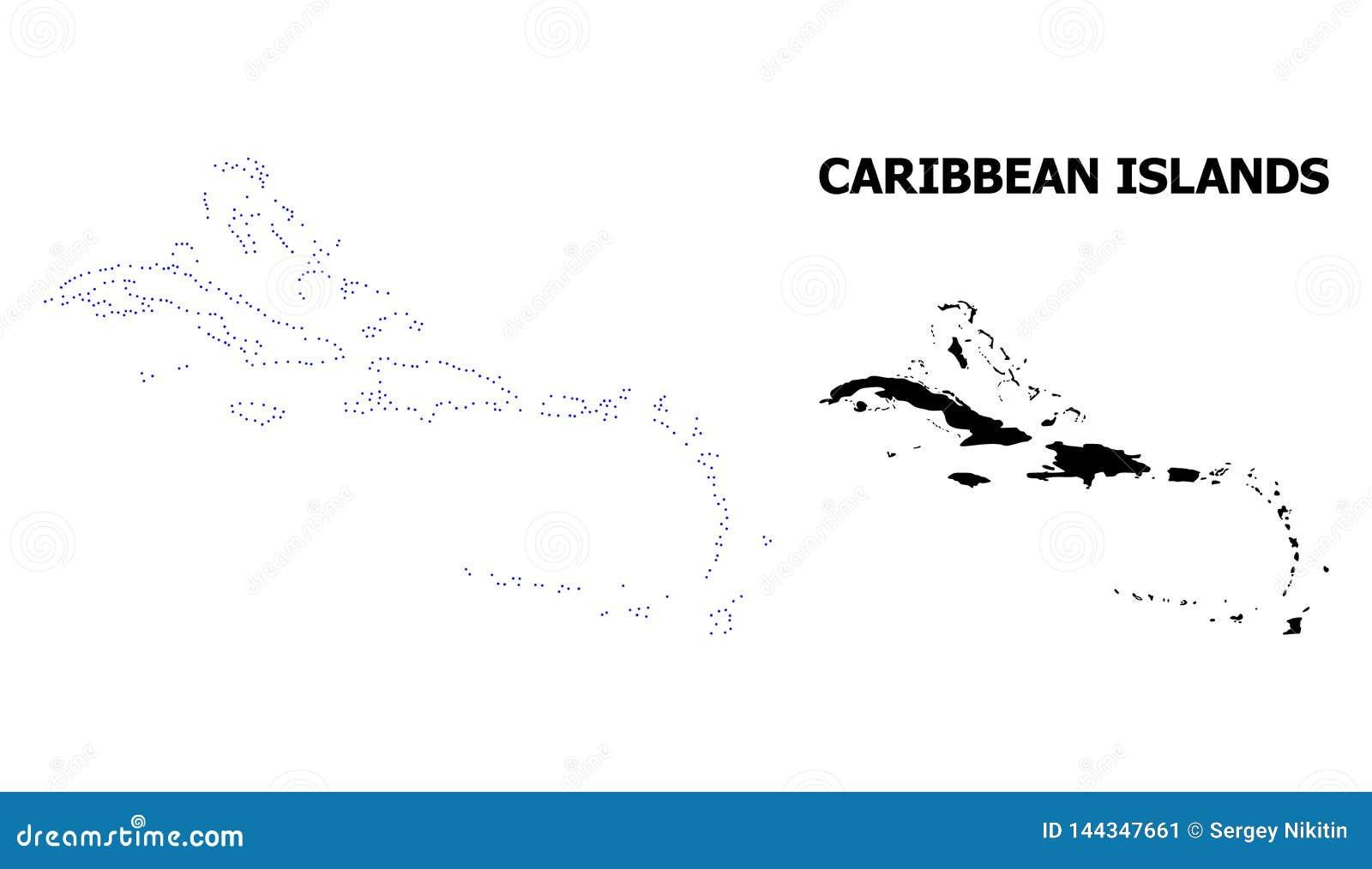 Διανυσματικός διαστιγμένος περίγραμμα χάρτης των νησιών Καραϊβικής με το όνομα