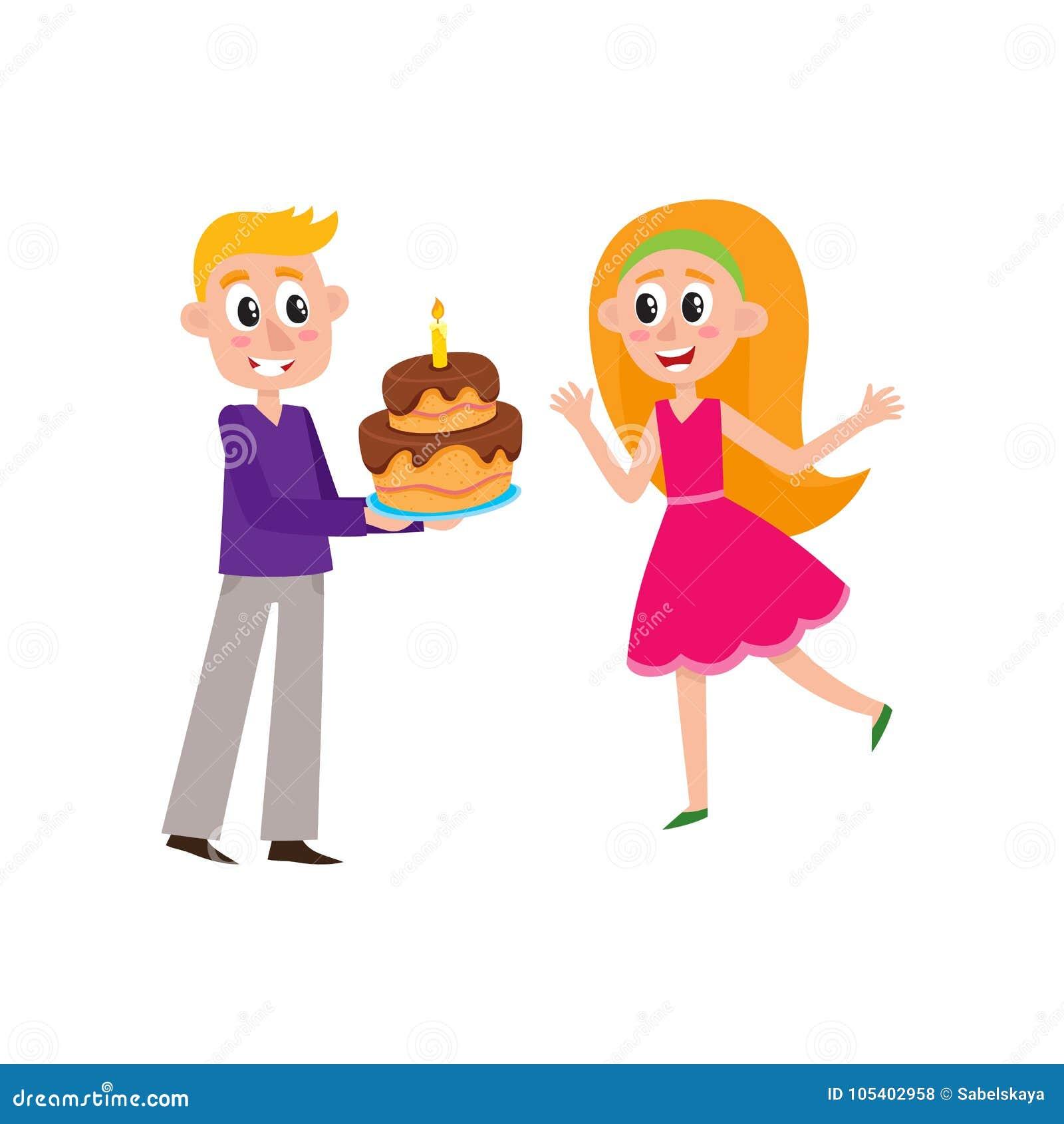 Download Διανυσματικός επίπεδος άνδρας που δίνει το κέικ γενεθλίων στη γυναίκα Διανυσματική απεικόνιση - εικονογραφία από χαρακτήρας, διακοπές: 105402958