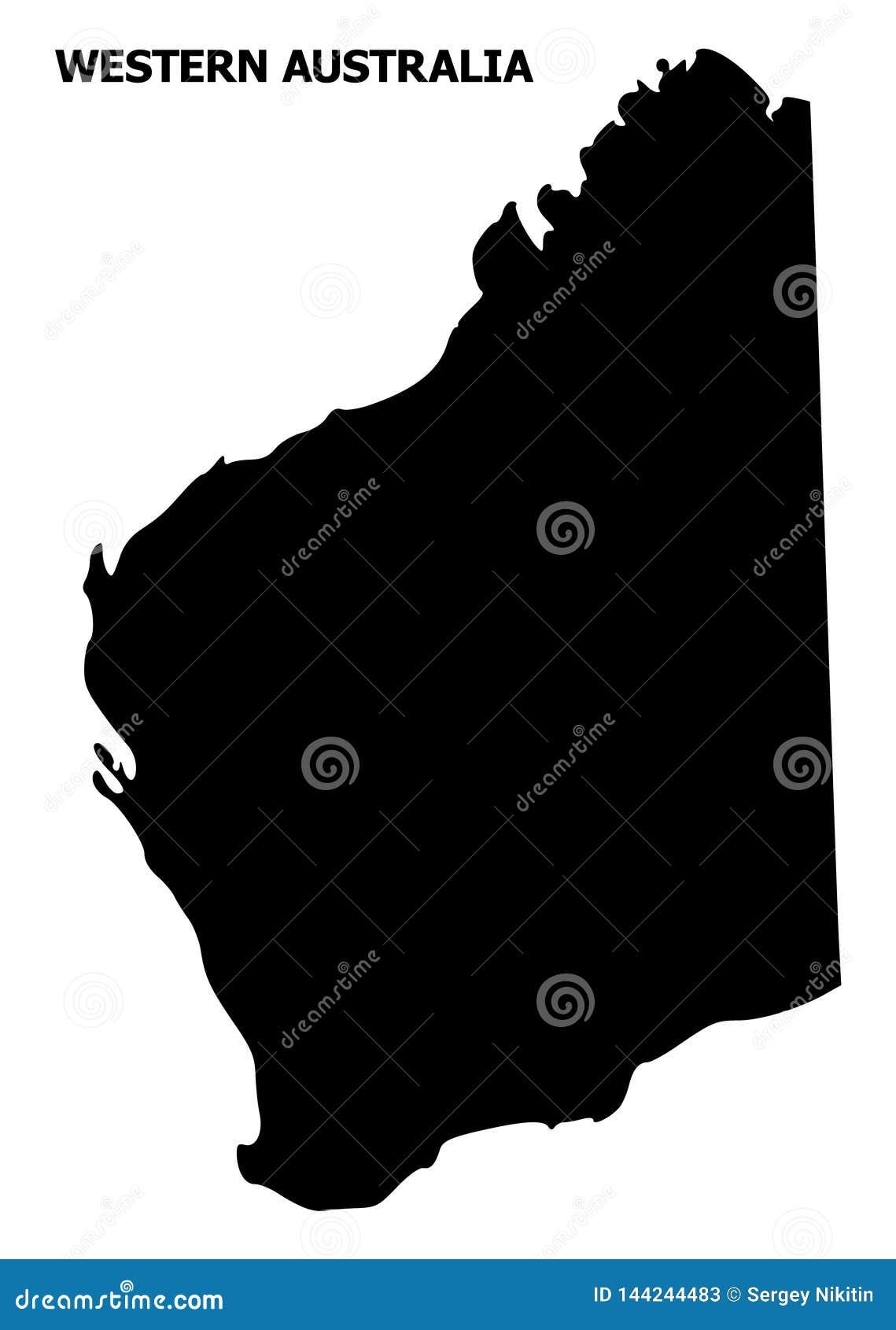 Διανυσματικός επίπεδος χάρτης της δυτικής Αυστραλίας με το όνομα