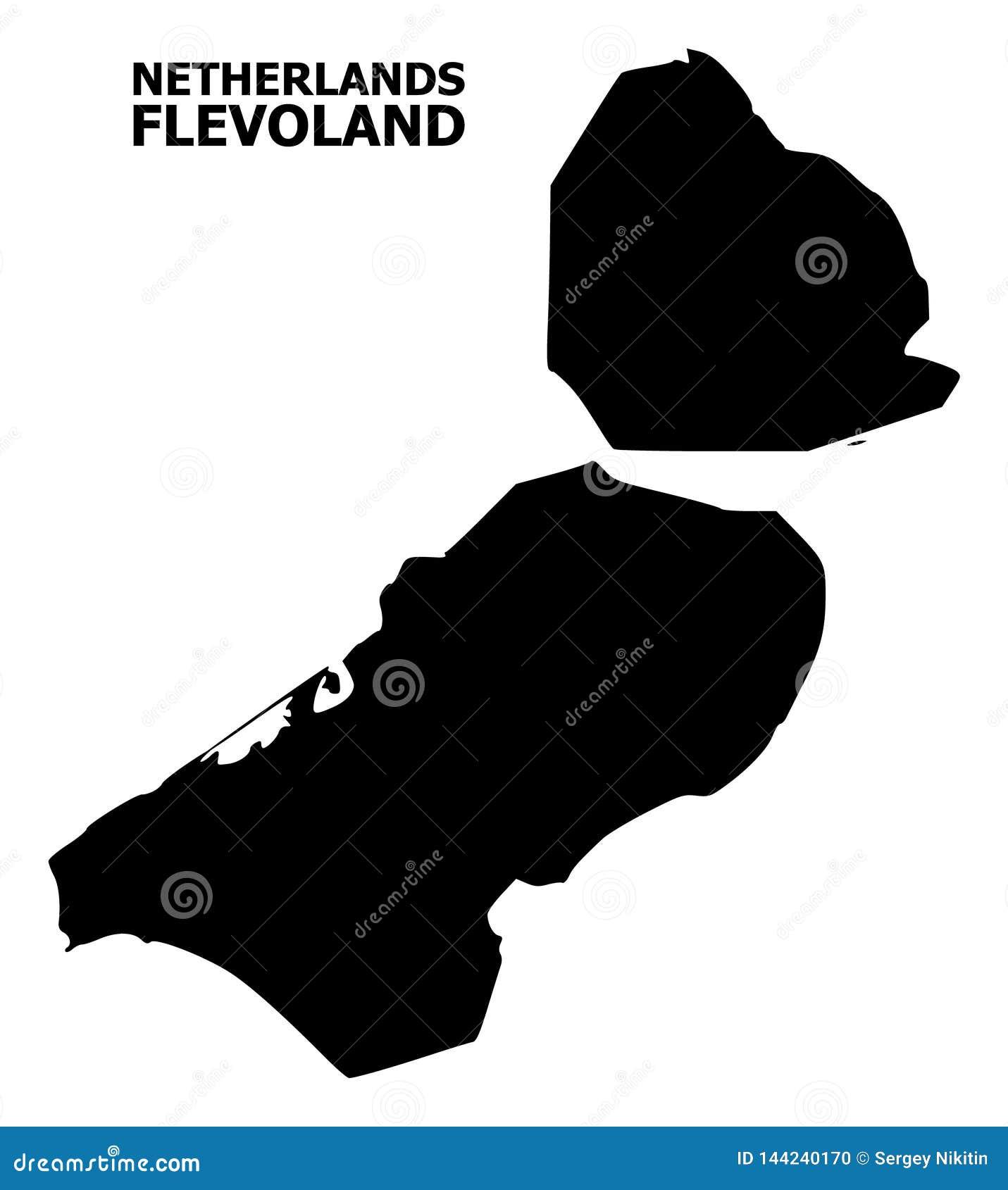 Διανυσματικός επίπεδος χάρτης της επαρχίας του Flevoland με το όνομα