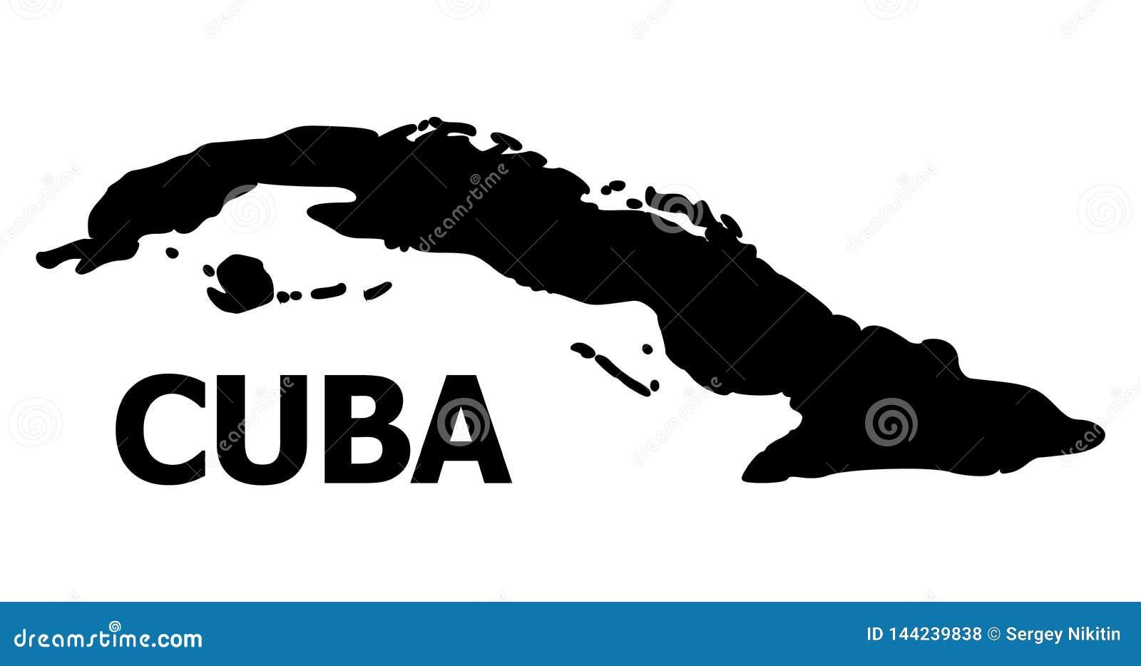 Διανυσματικός επίπεδος χάρτης της Κούβας με τον τίτλο