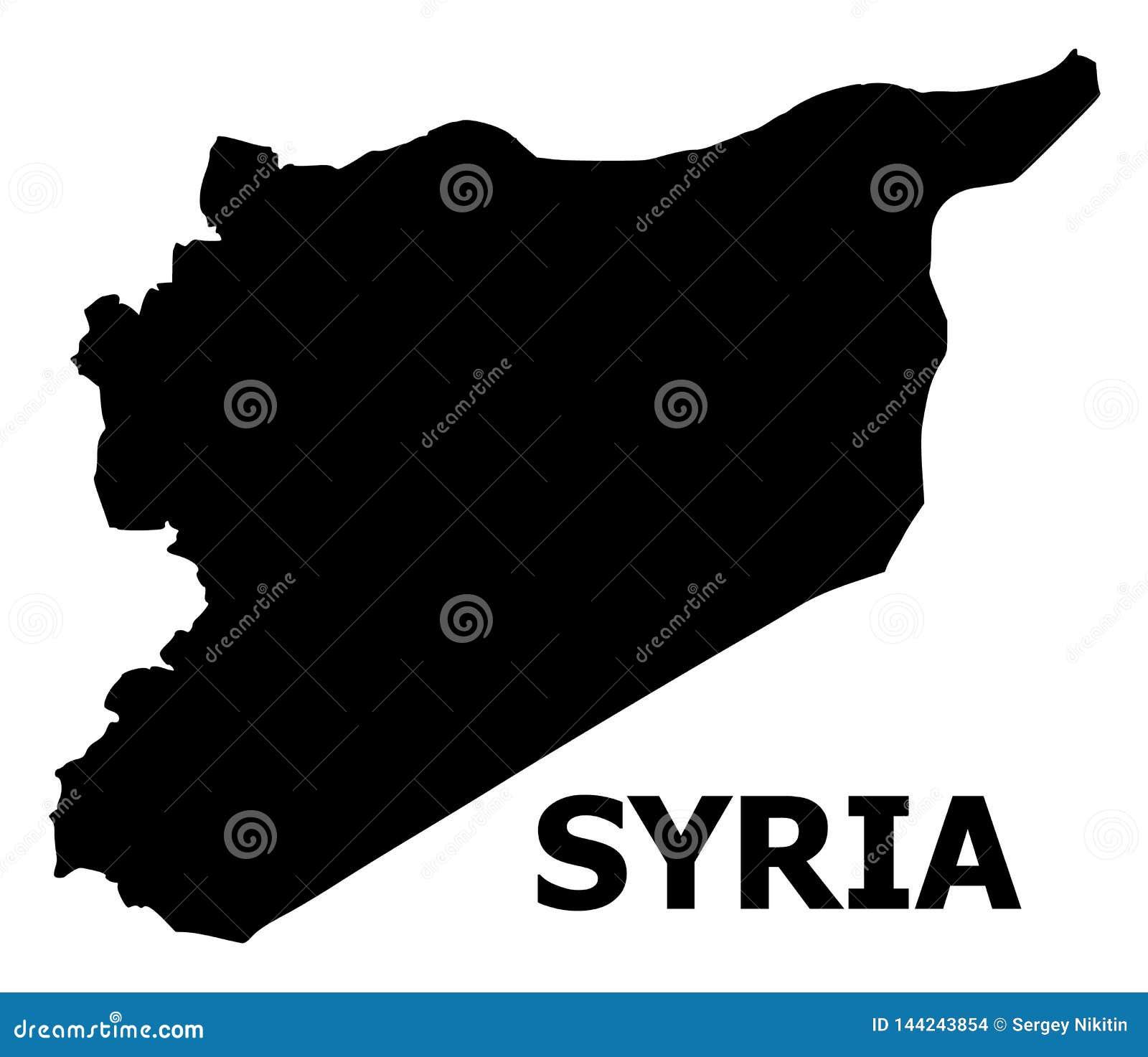 Διανυσματικός επίπεδος χάρτης της Συρίας με το όνομα