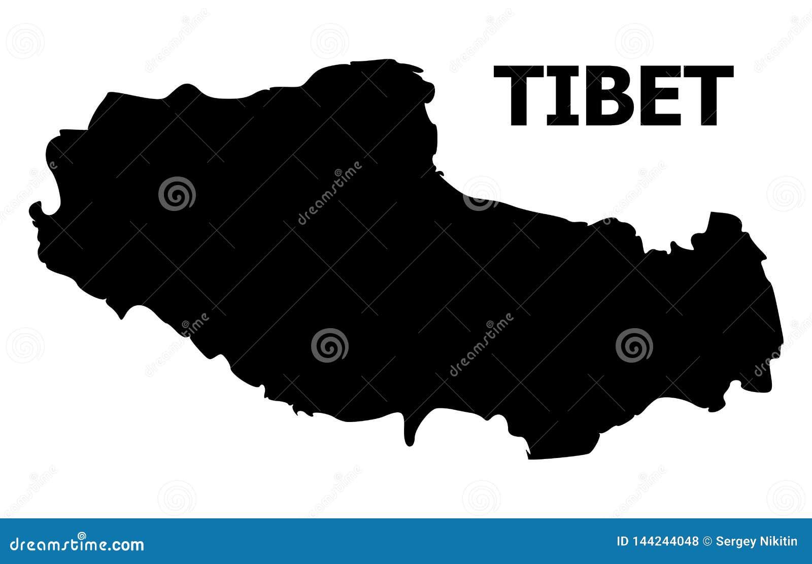 Διανυσματικός επίπεδος χάρτης του Θιβέτ με το όνομα