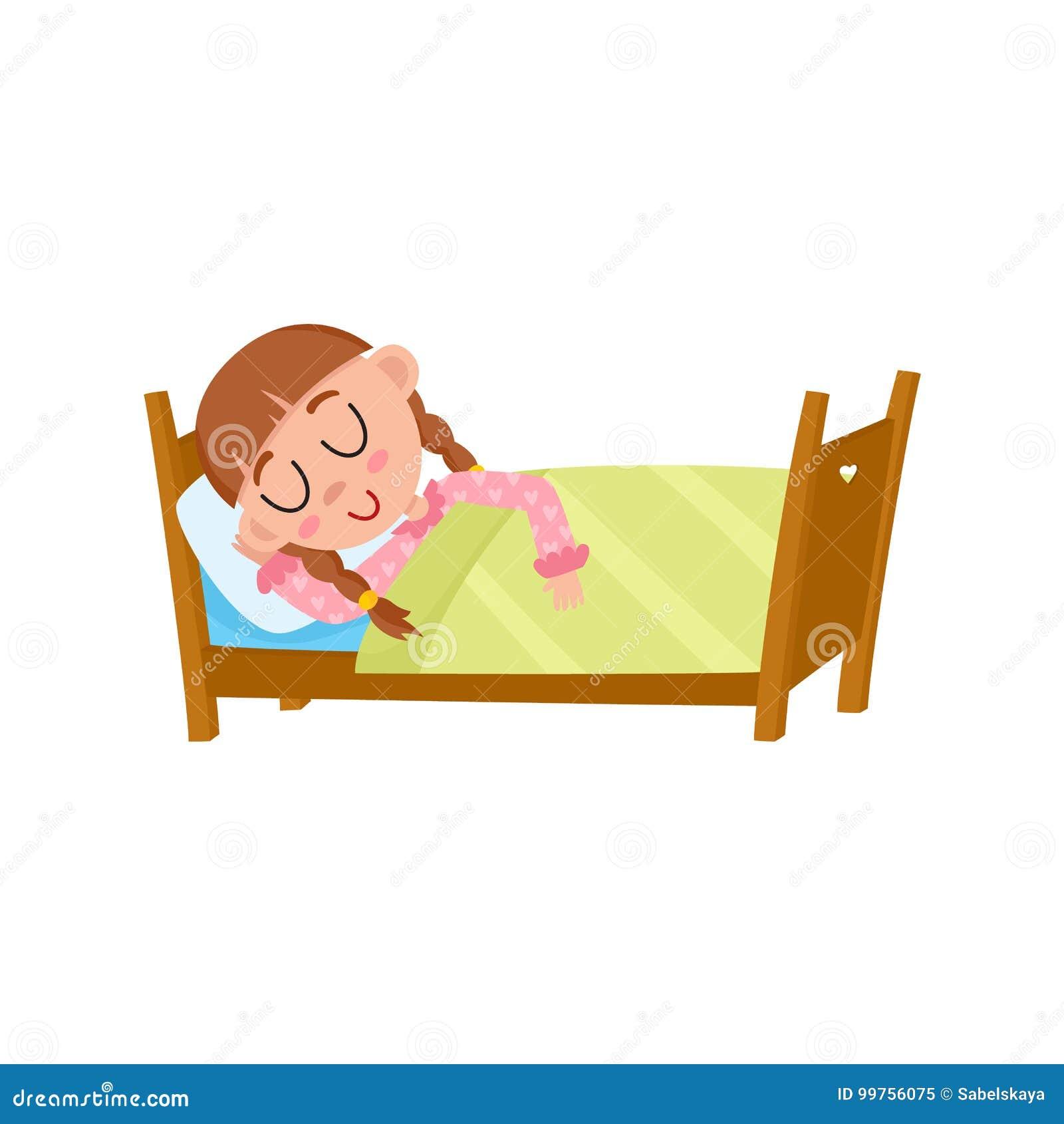 Διανυσματικός επίπεδος ύπνος κοριτσιών στο κρεβάτι της κάτω από το κάλυμμα