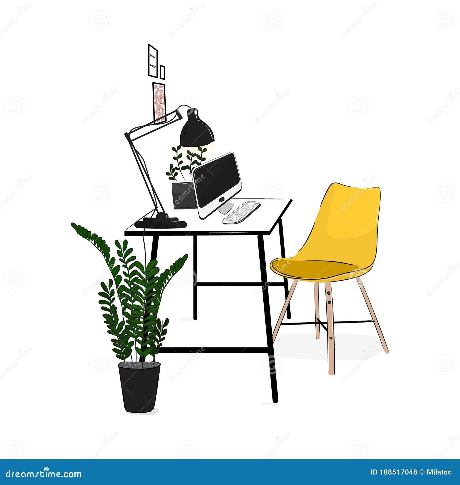 Διανυσματικός εργασιακός χώρος γραφείων με τον υπολογιστή και τις εγκαταστάσεις Άνετος σύγχρονος δημιουργικός χώρος εργασίας με τ