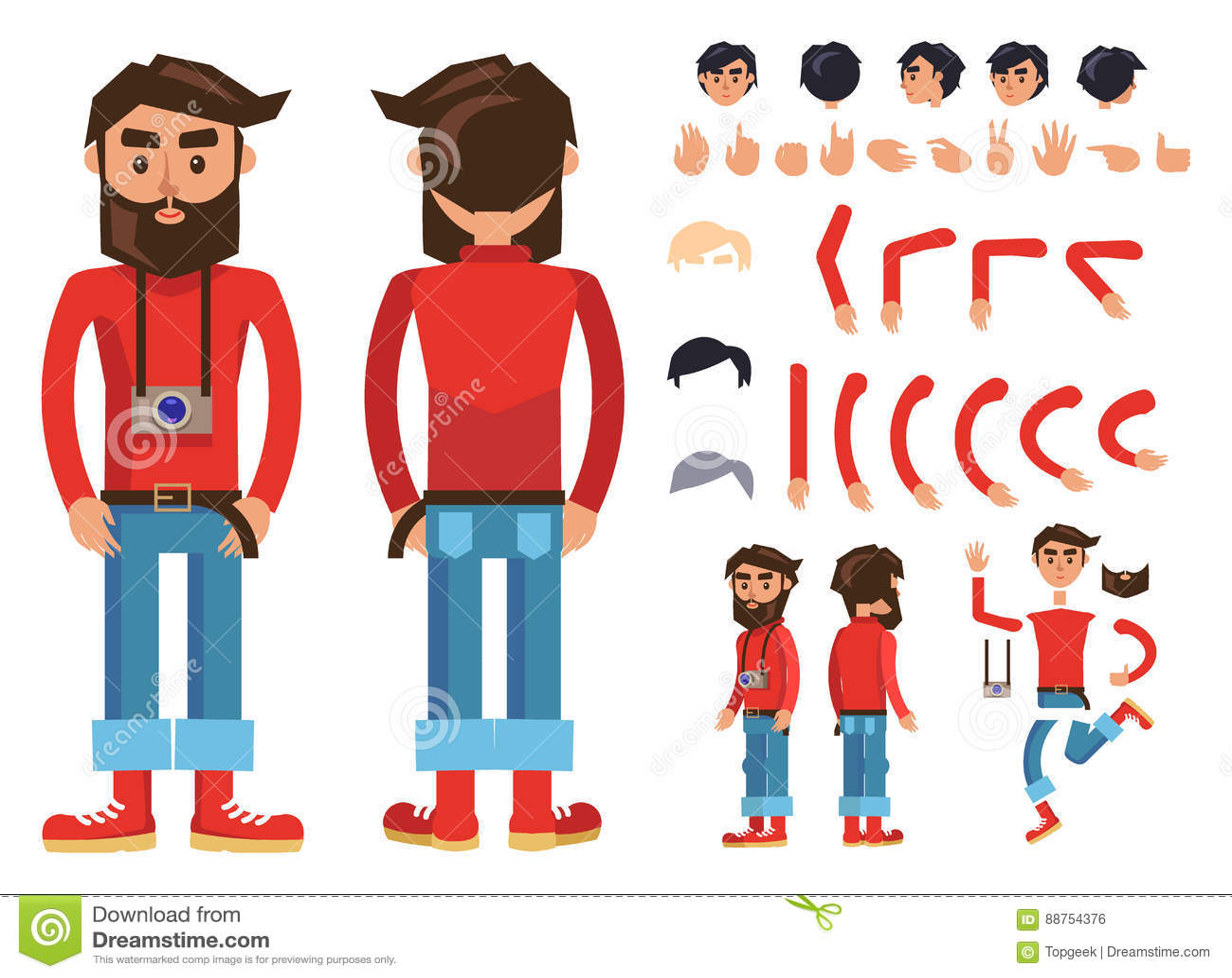 Διανυσματικός κατασκευαστής χαρακτήρα ατόμων Hipster κινούμενων σχεδίων