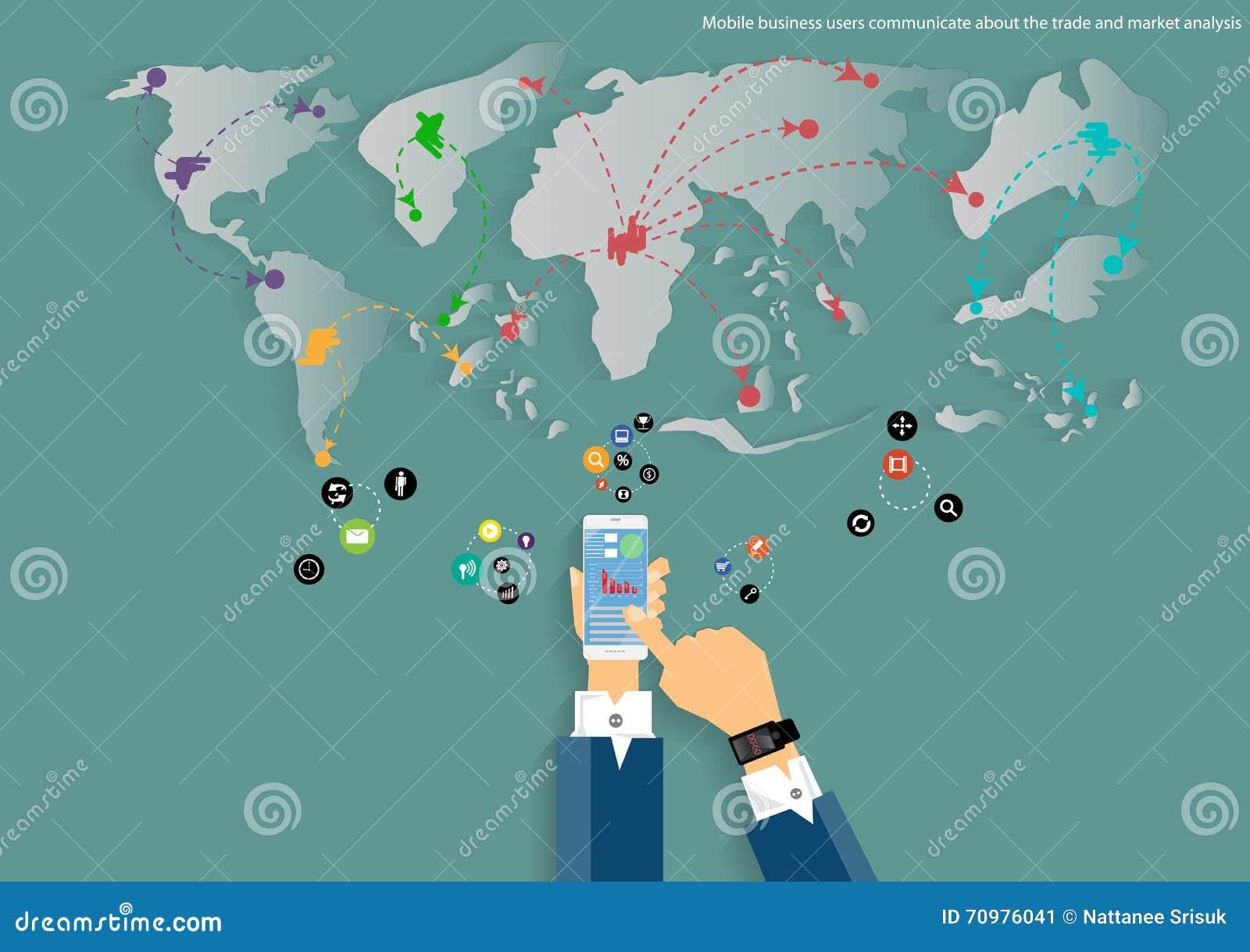 Διανυσματικός κινητός και ταξιδεύει τον παγκόσμιο χάρτη της επιχειρησιακής επικοινωνίας, των εμπορικών συναλλαγών, του μάρκετινγκ
