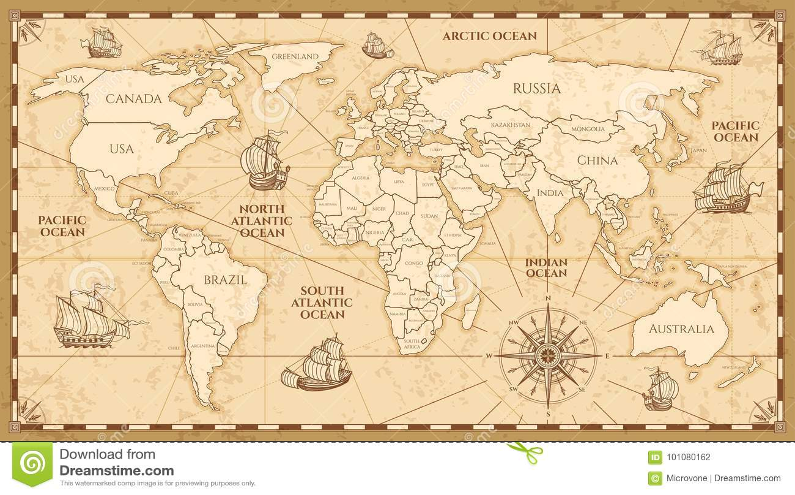 Διανυσματικός παλαιός παγκόσμιος χάρτης με τα όρια χωρών
