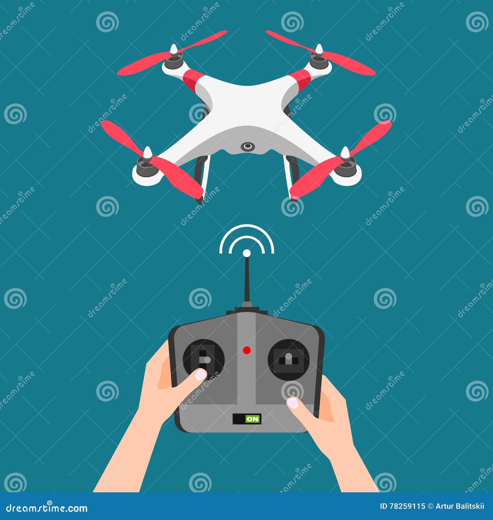 Διανυσματικός πετώντας κηφήνας με τη κάμερα και τον ελεγκτή