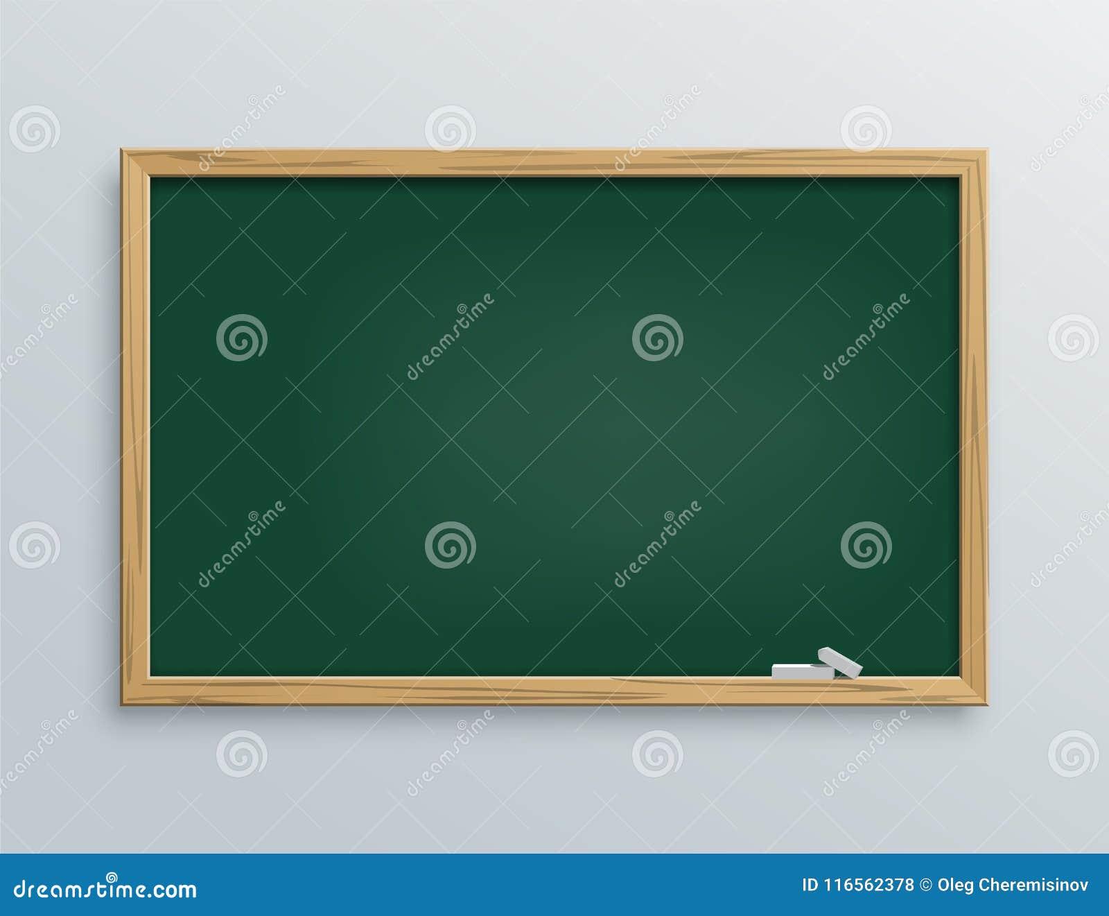 Διανυσματικός πράσινος σχολικός πίνακας κιμωλίας με τα κομμάτια κιμωλίας