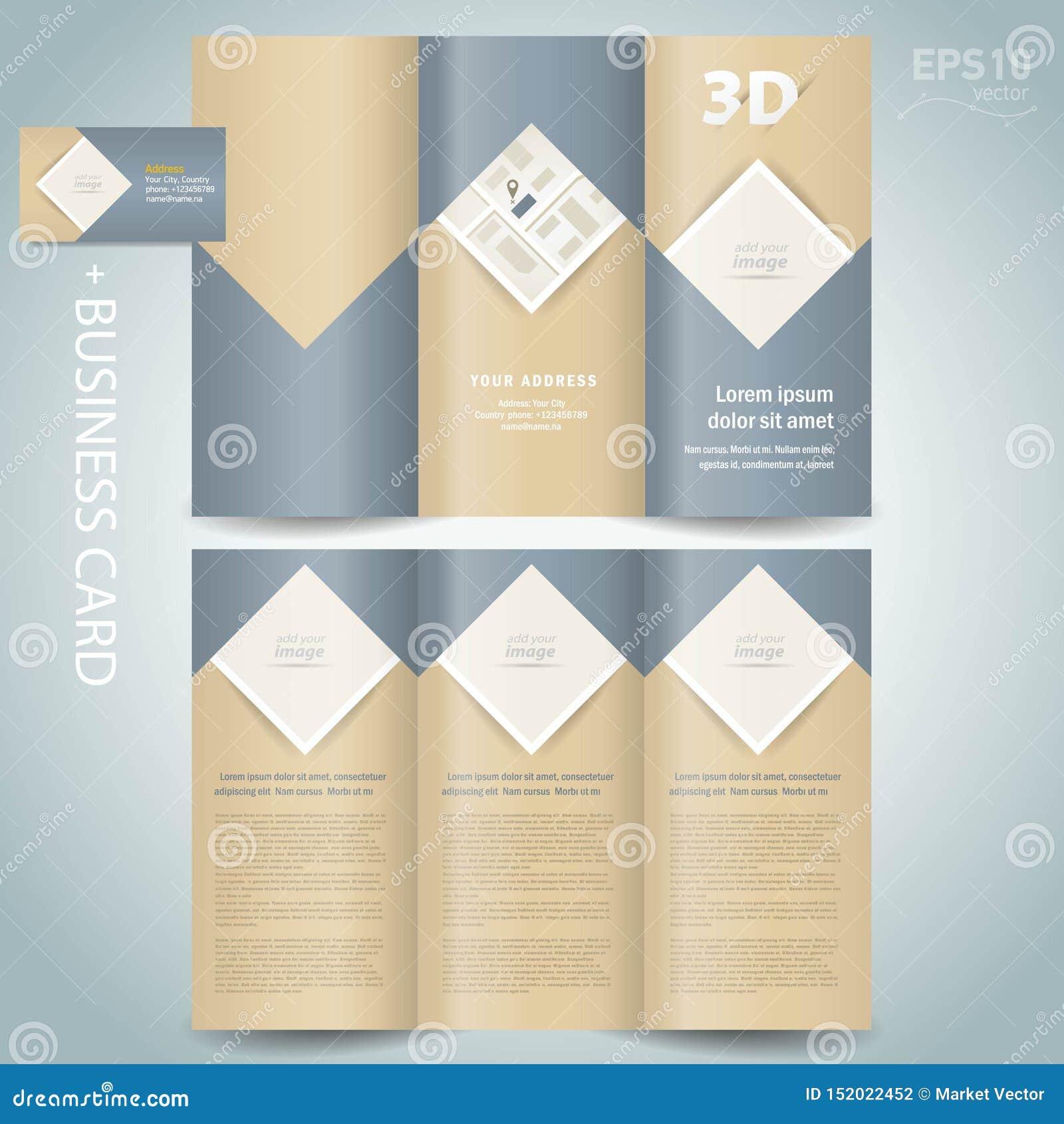 Διανυσματικός ρόμβος φυλλάδιων φακέλλων προτύπων σχεδίου φυλλάδιων Trifold, τετράγωνο, φραγμός για τις εικόνες
