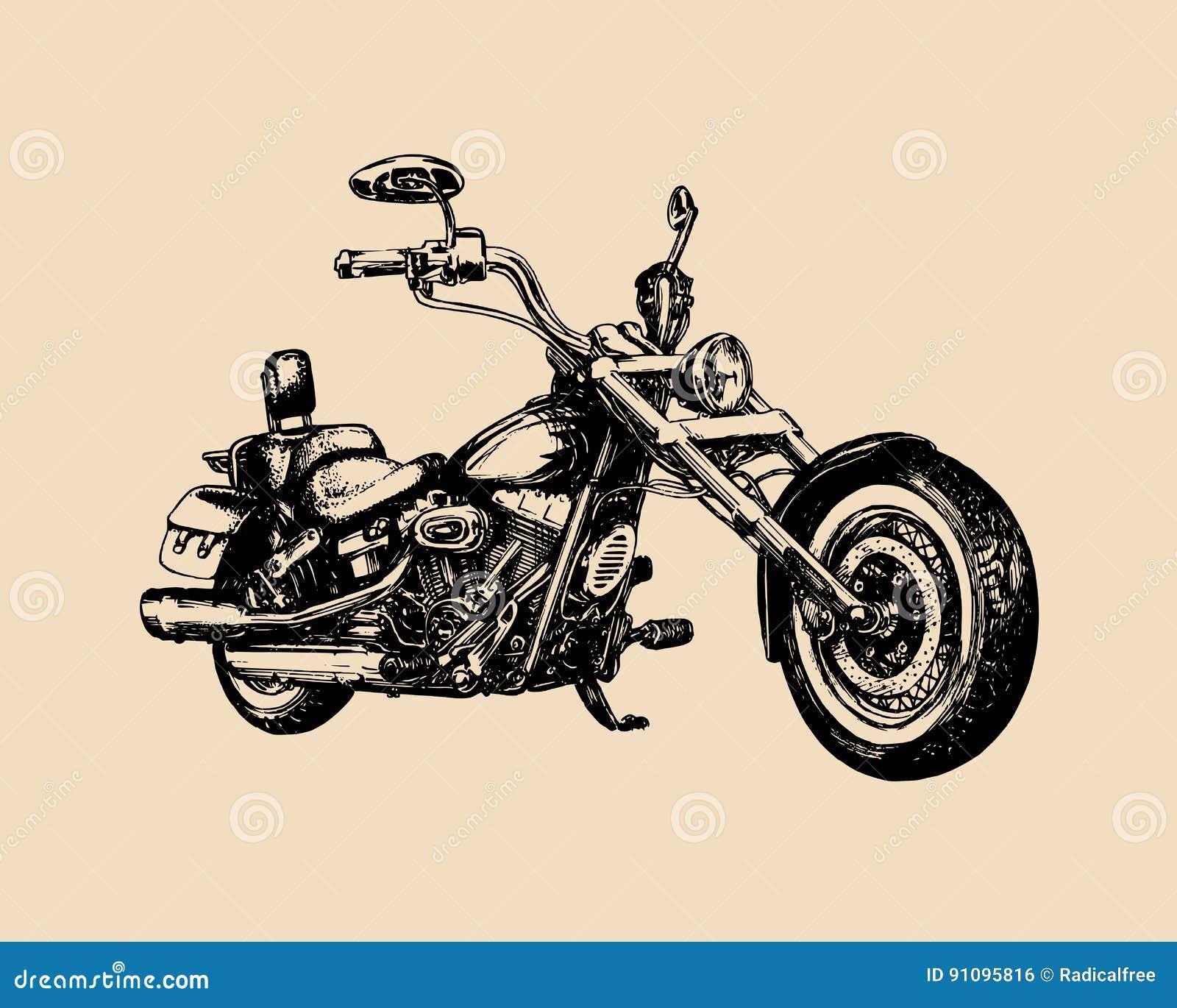 Διανυσματικός συρμένος χέρι κλασικός μπαλτάς για την ετικέτα MC Λεπτομερής τρύγος απεικόνιση μοτοσικλετών για την επιχείρηση ποδη